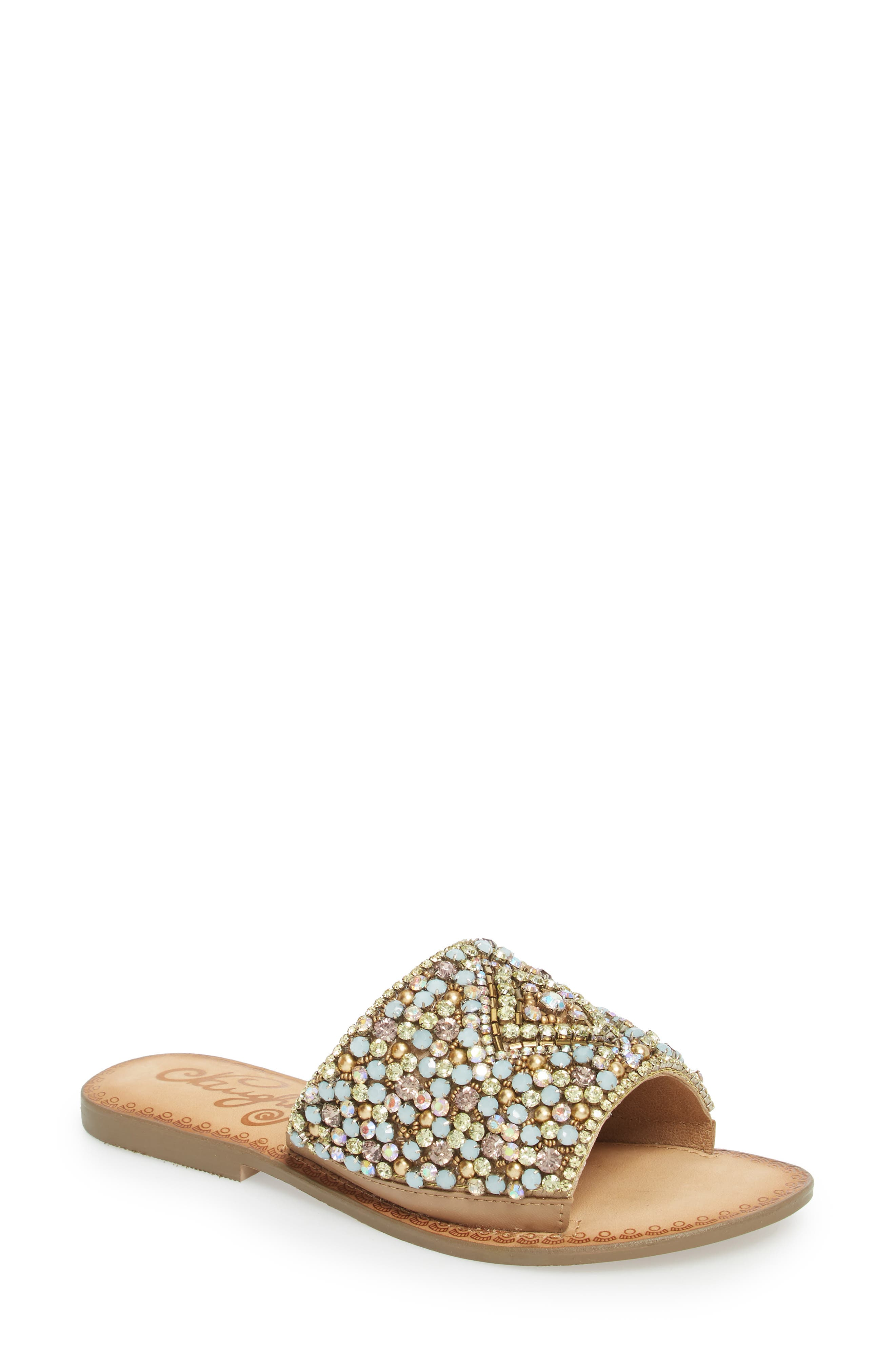 Susanna Embellished Slide Sandal,                             Main thumbnail 1, color,                             Multi Leather