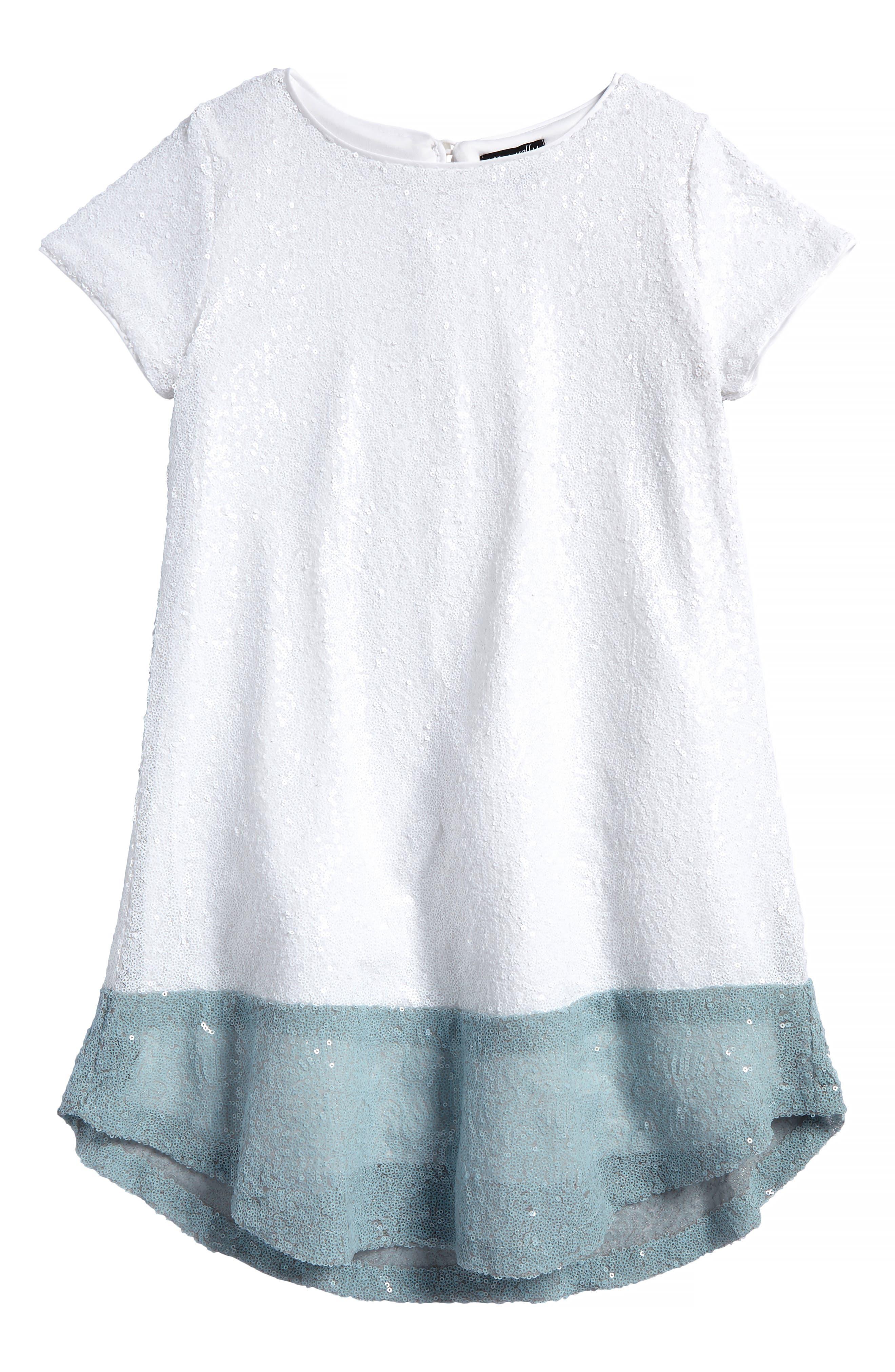 Alternate Image 1 Selected - Ava & Yelly Sequin Shift Dress (Big Girls)