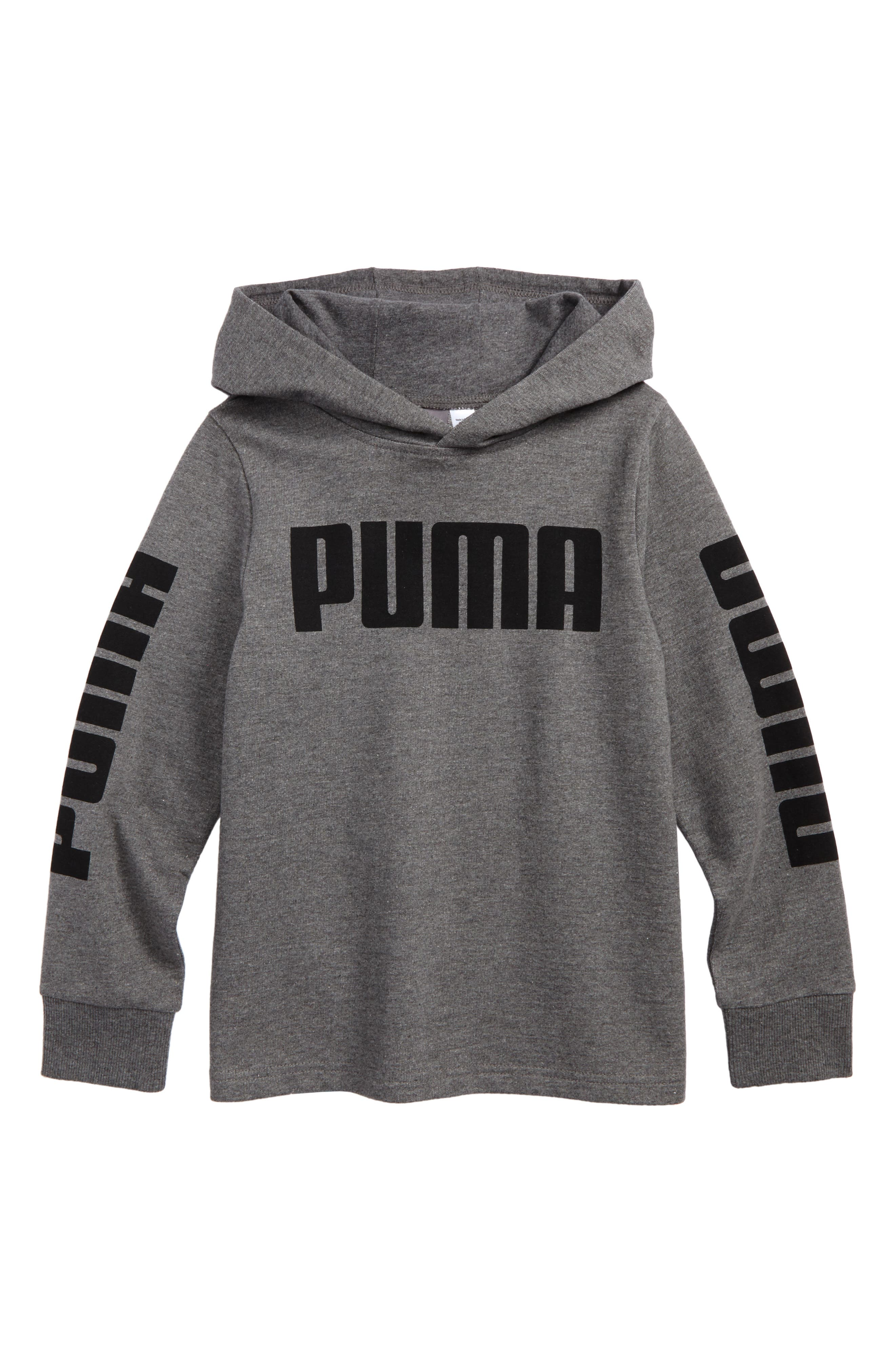 Rebel Logo Graphic Hoodie,                         Main,                         color, Charcoal Heather