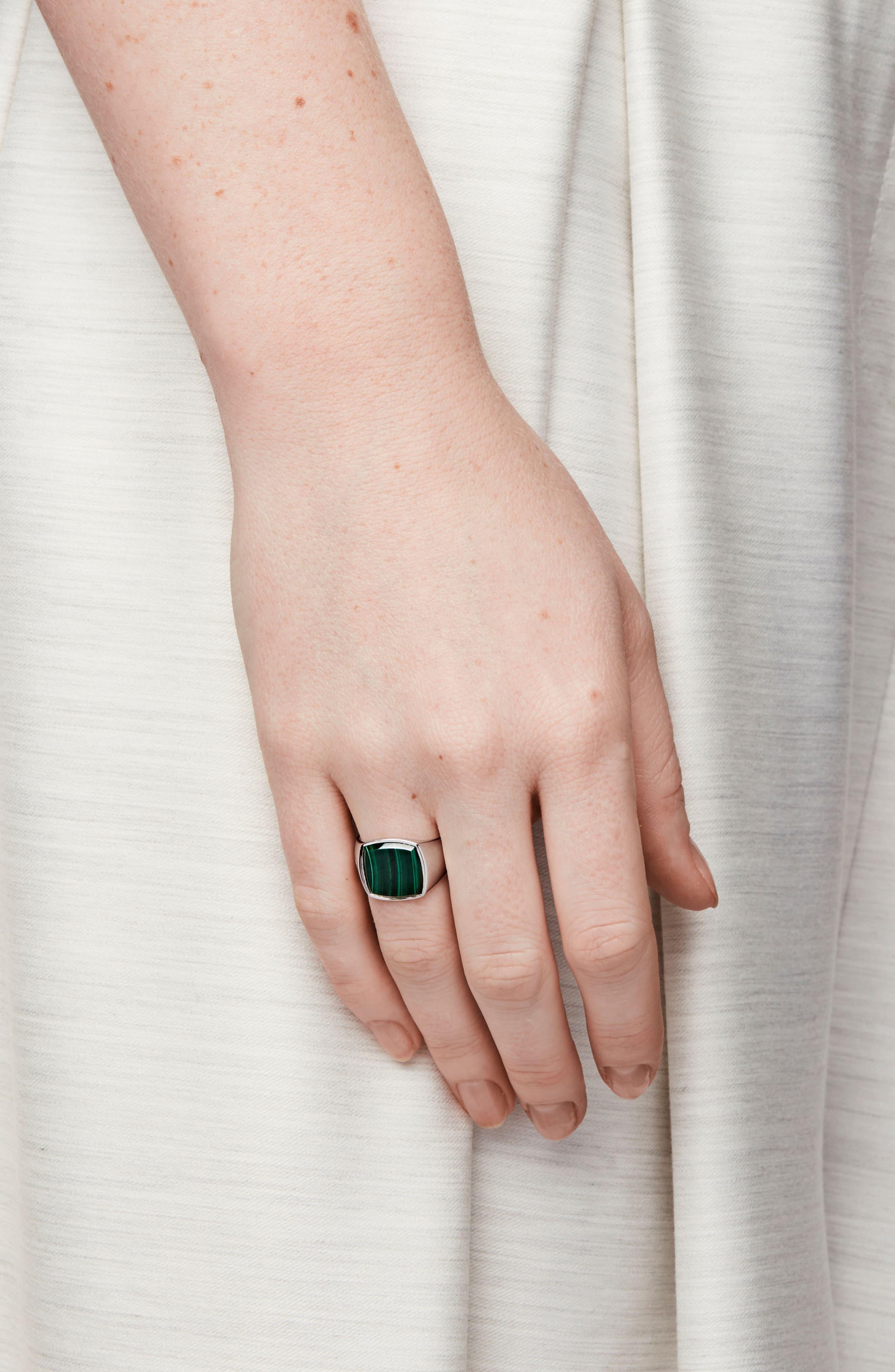 Malachite Cushion Signet Ring,                             Alternate thumbnail 2, color,                             Silver