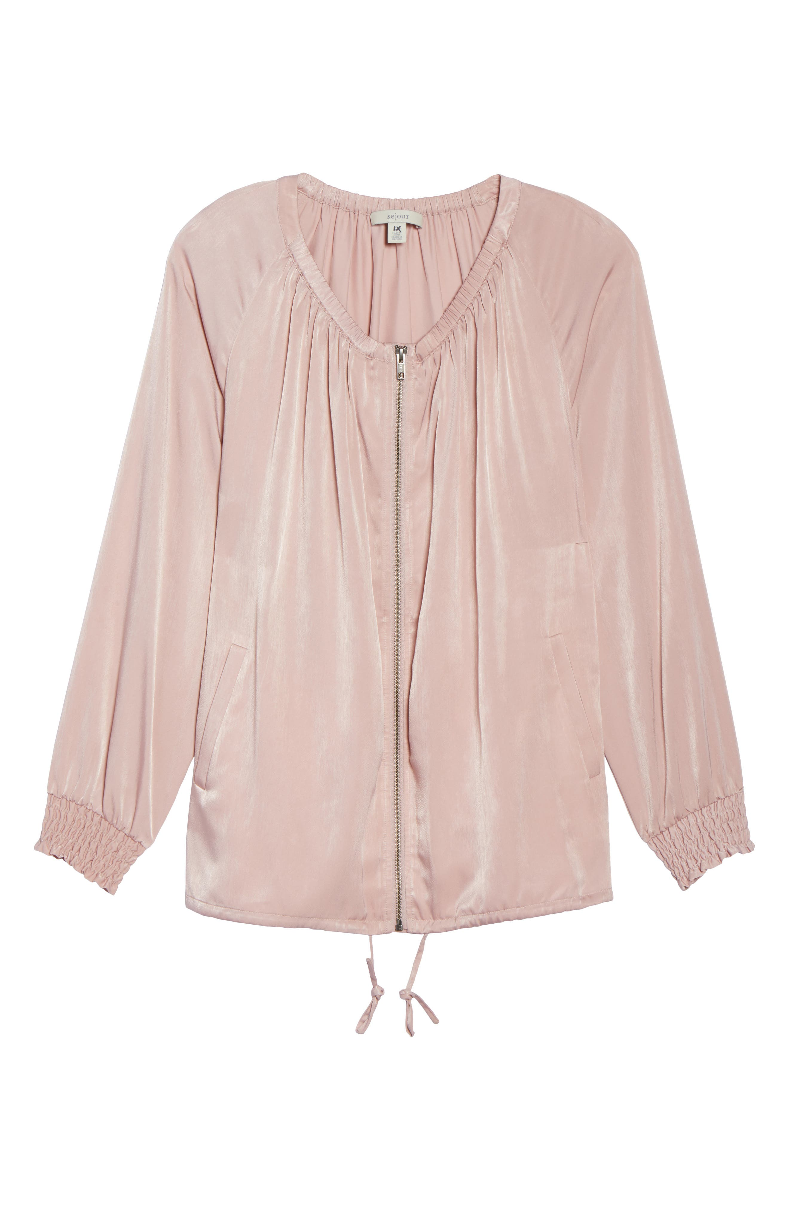 Swing Back Satin Bomber Jacket,                             Alternate thumbnail 6, color,                             Pink Puff