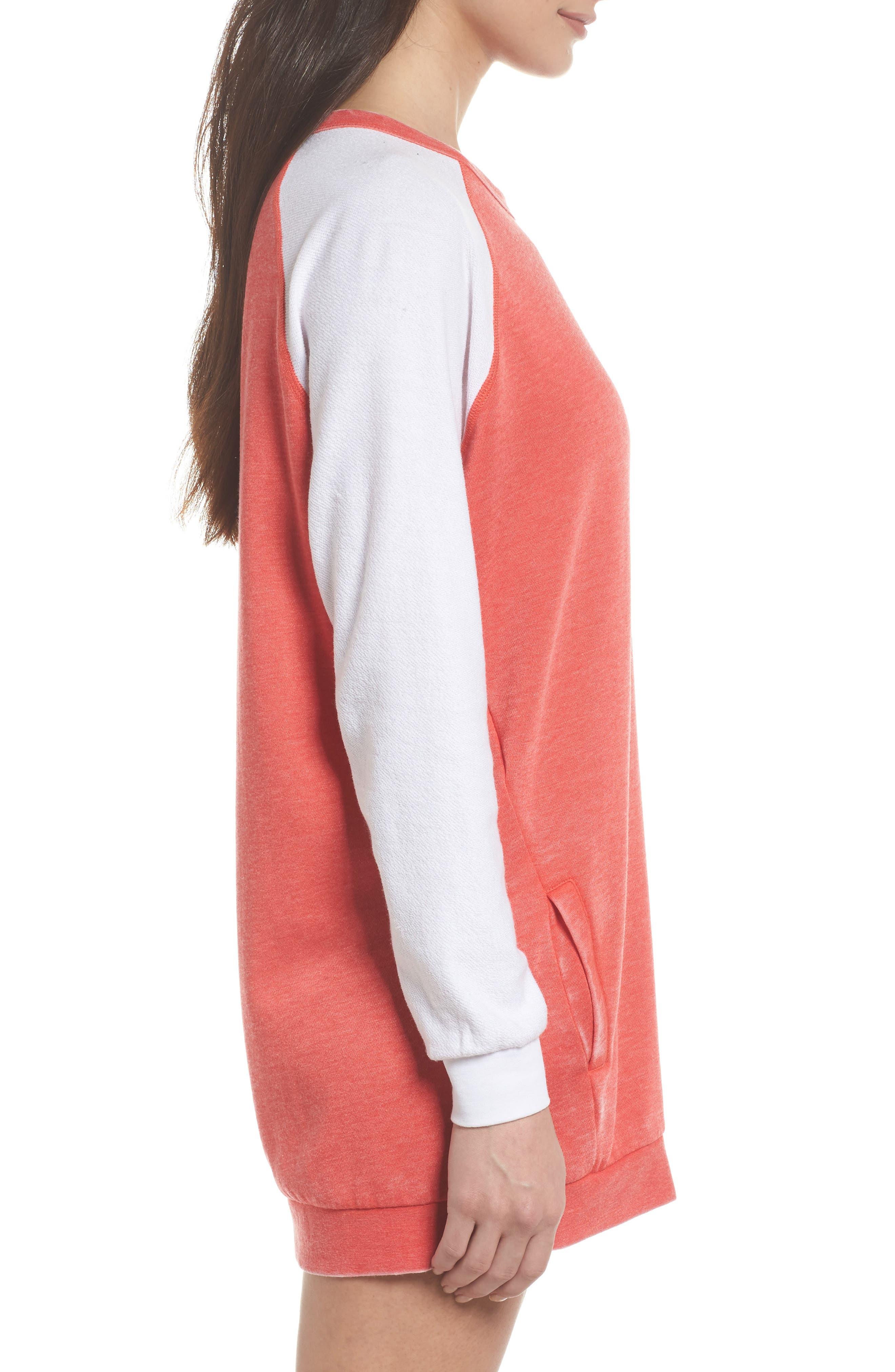 Lounge Sweatshirt Dress,                             Alternate thumbnail 3, color,                             Love Red/ White