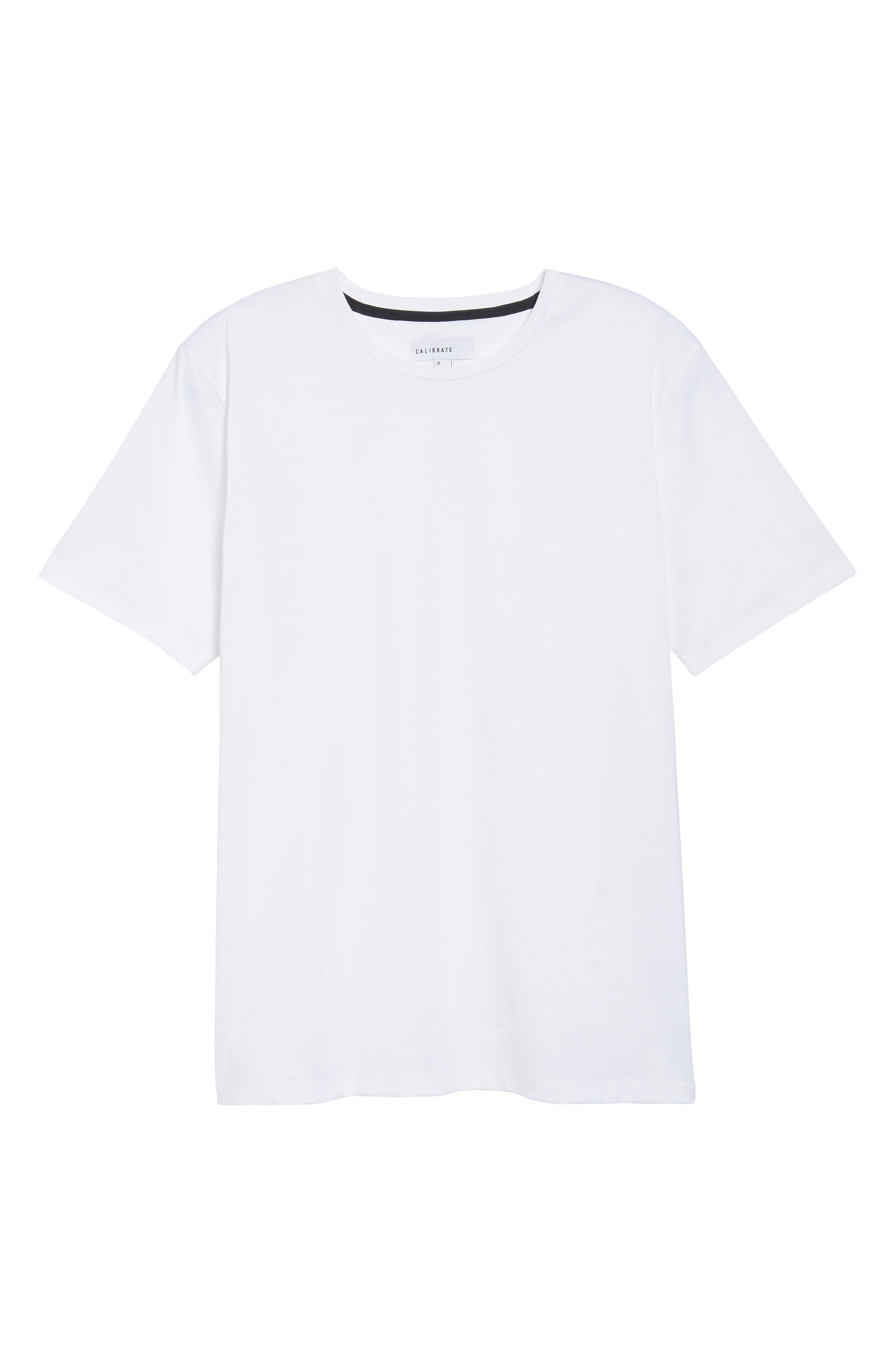 Mercerized Cotton Crewneck T-Shirt,                             Alternate thumbnail 6, color,                             White