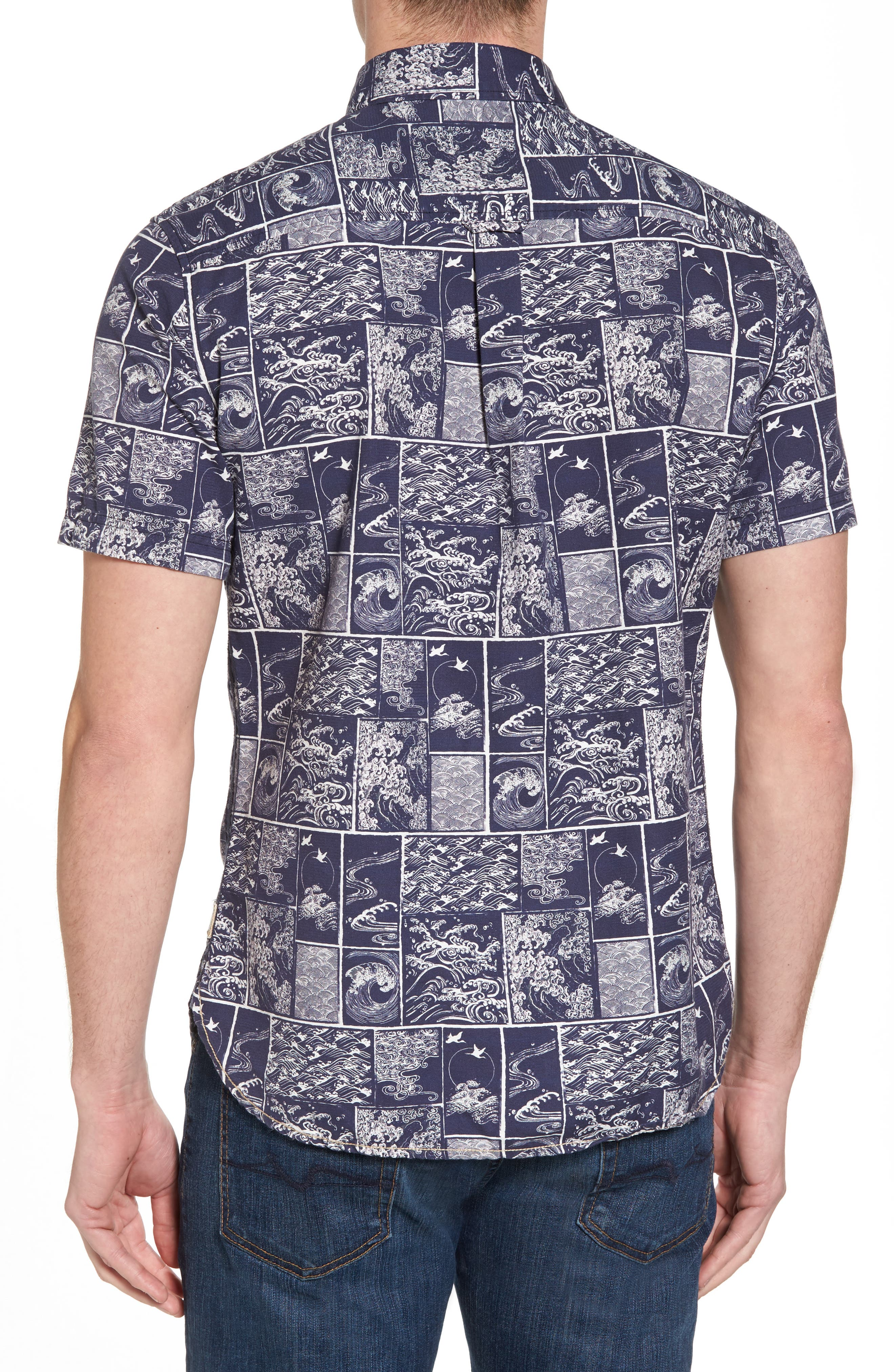 Wave Print Sport Shirt,                             Alternate thumbnail 2, color,                             Navy/ White