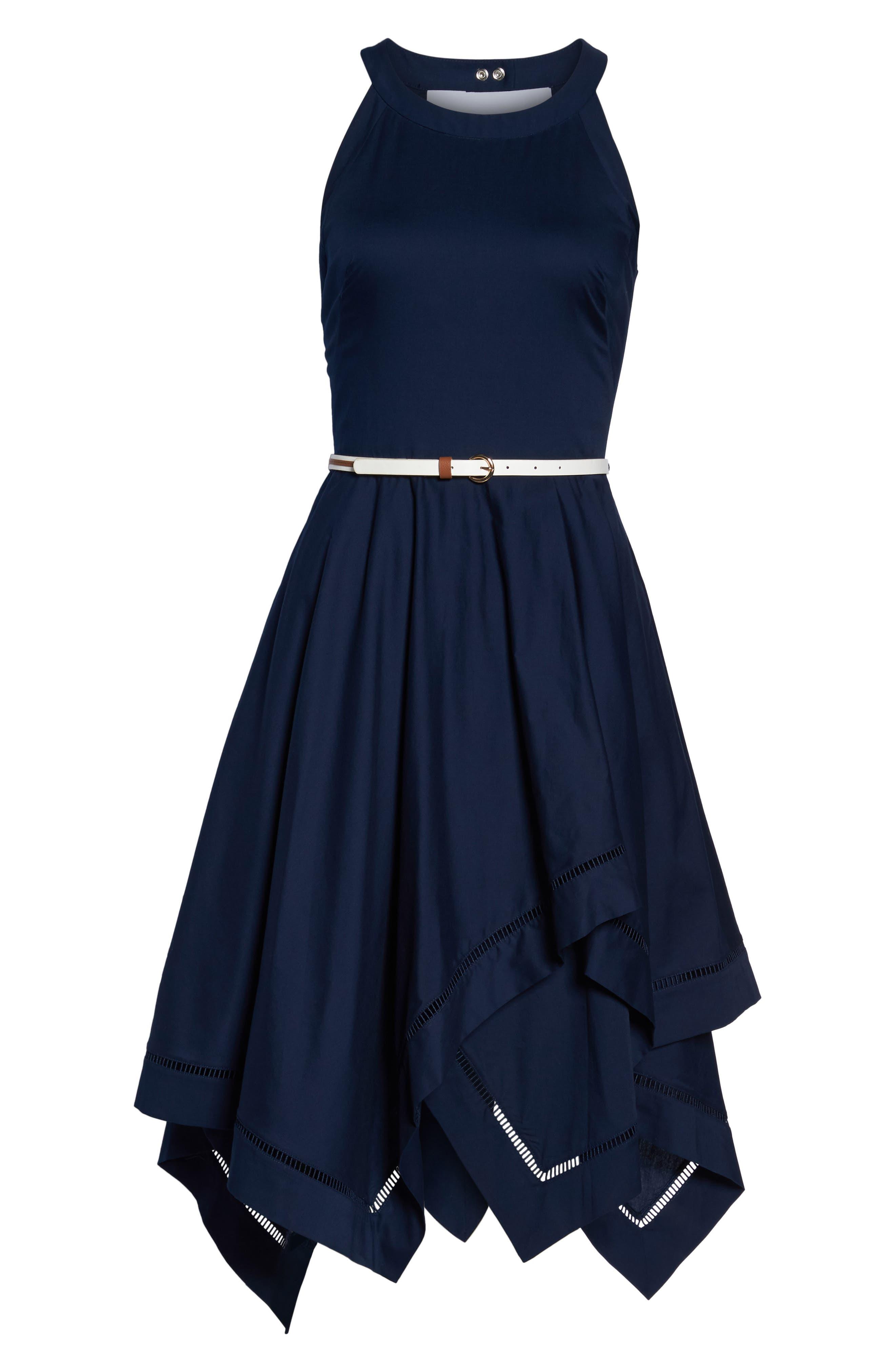 Handkerchief Hem Fit & Flare Dress,                             Alternate thumbnail 6, color,                             Navy