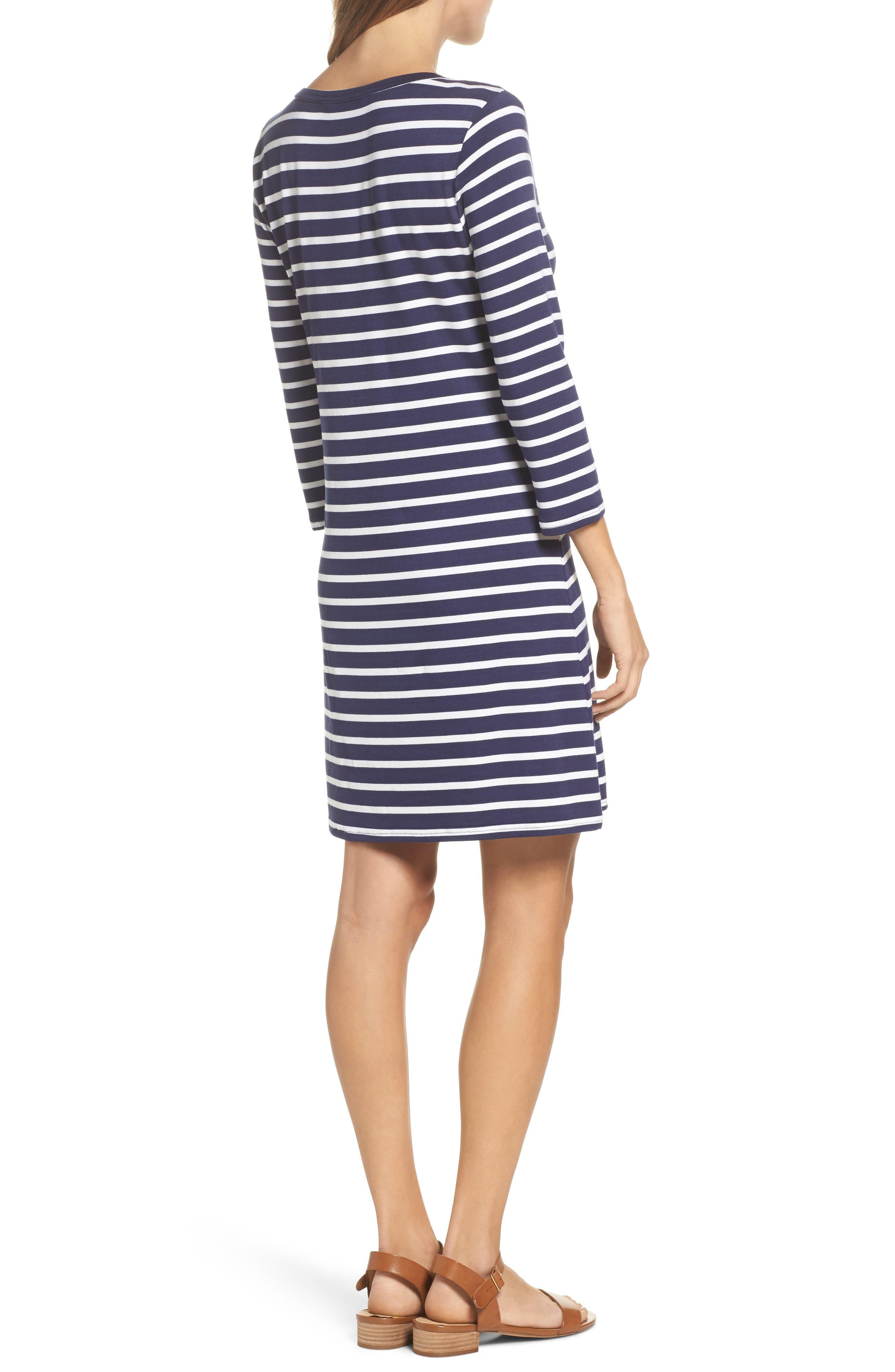 Adelene Stripe Knit Shift Dress,                             Alternate thumbnail 2, color,                             Navy