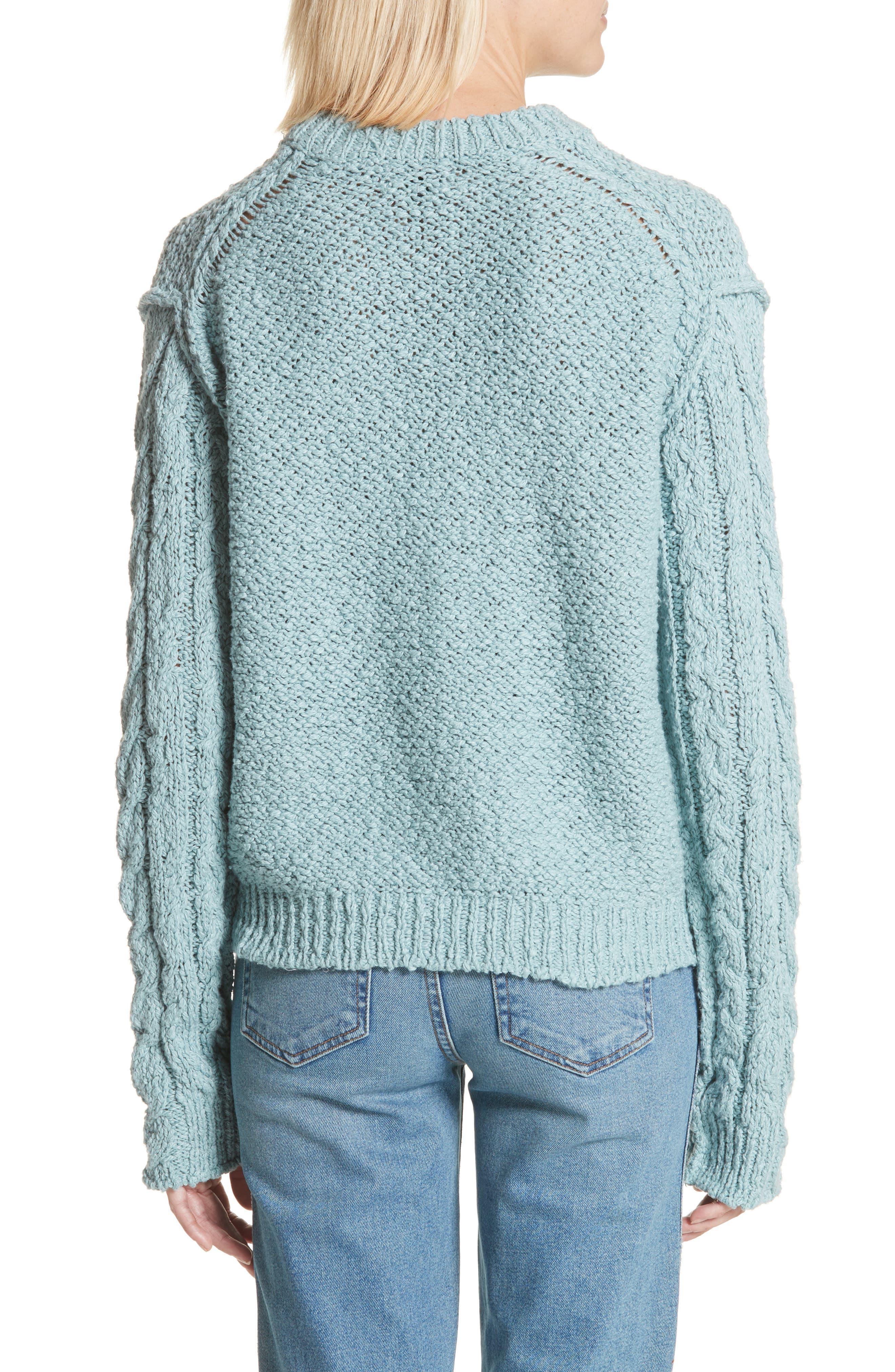 Hila Cable Sleeve Sweater,                             Alternate thumbnail 2, color,                             Blue