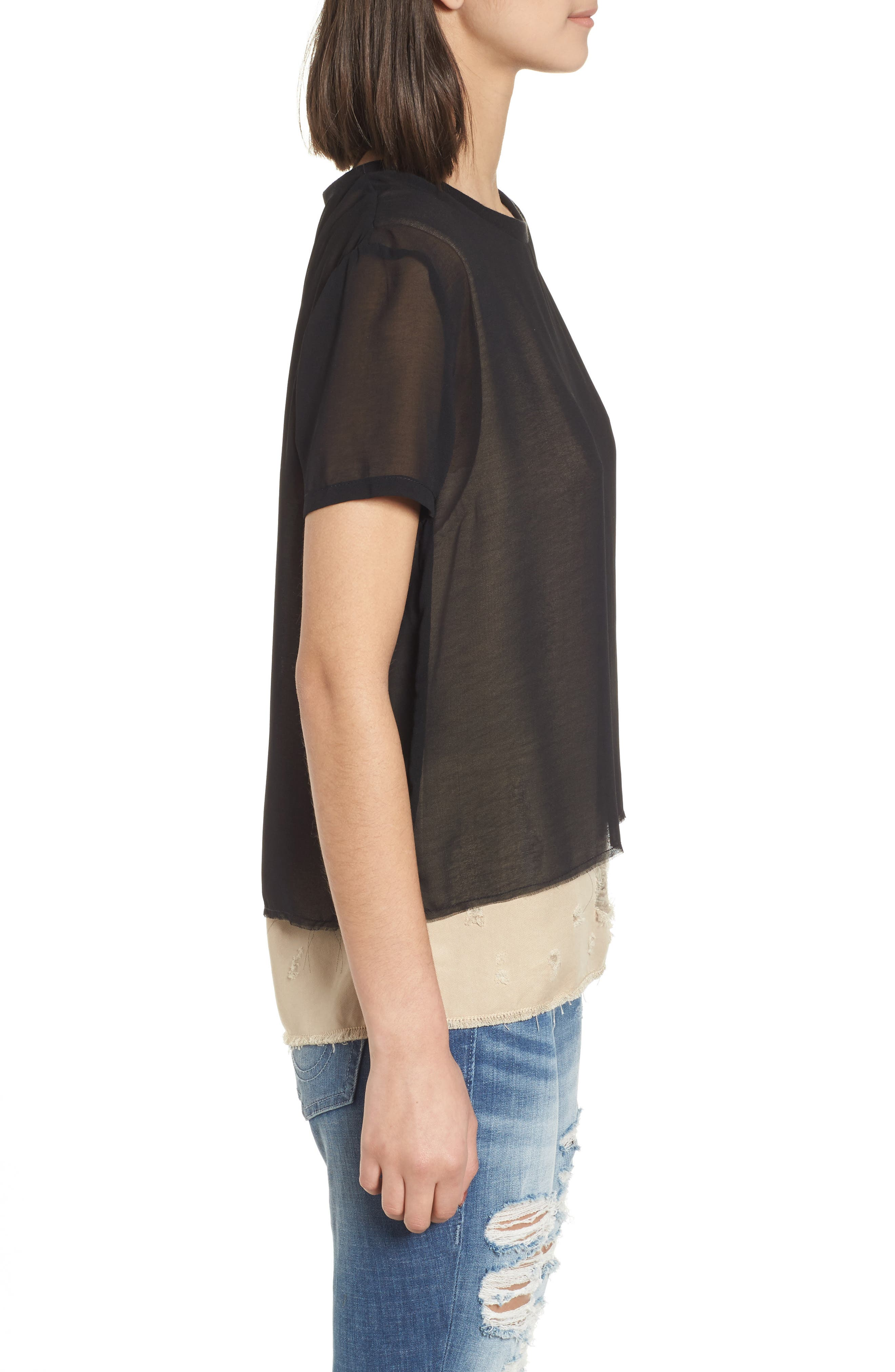 Mixed Media Layered Top,                             Alternate thumbnail 3, color,                             Beige