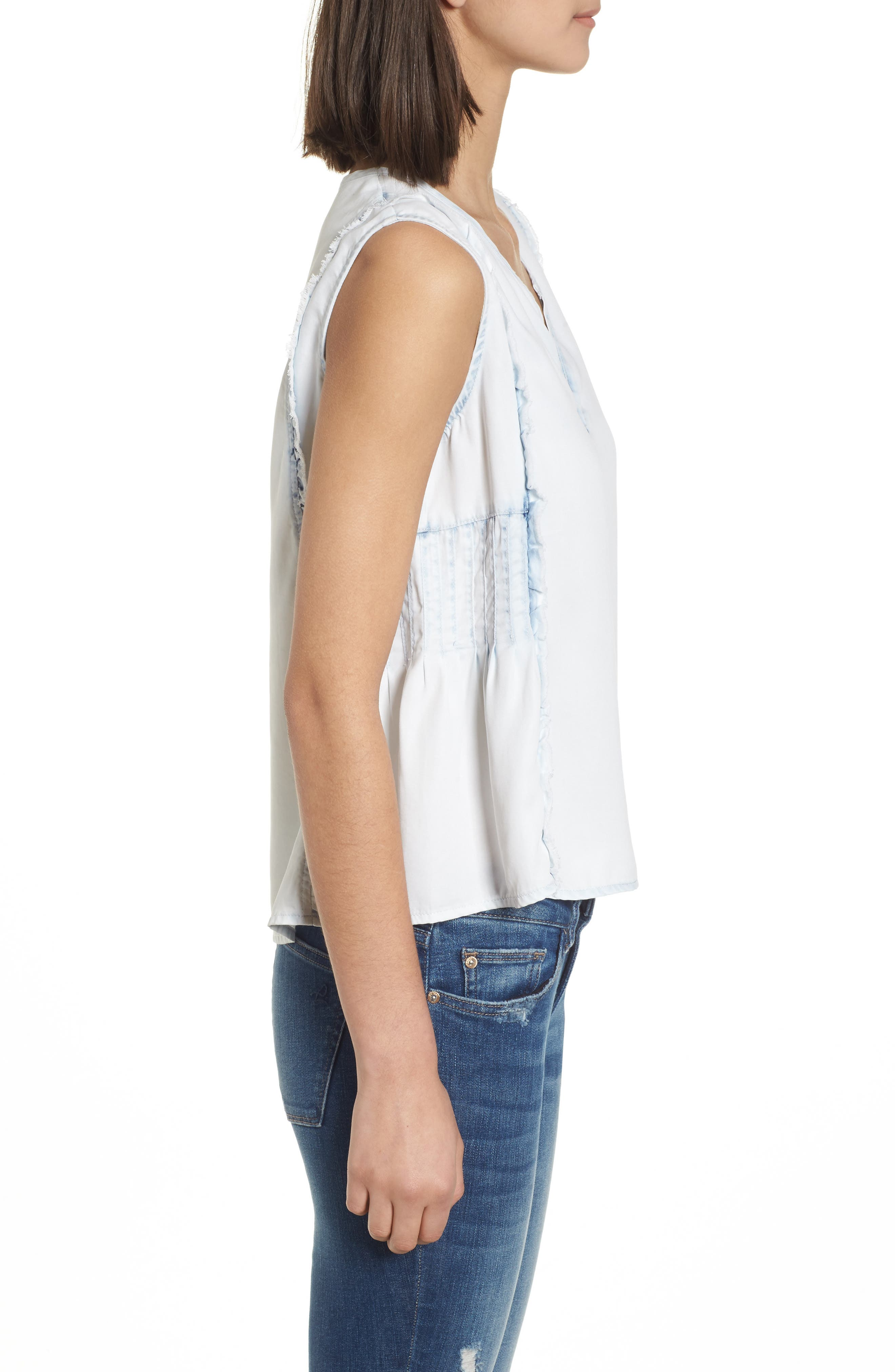 Mulberry St Chambray Top,                             Alternate thumbnail 3, color,                             Irregular Bleach