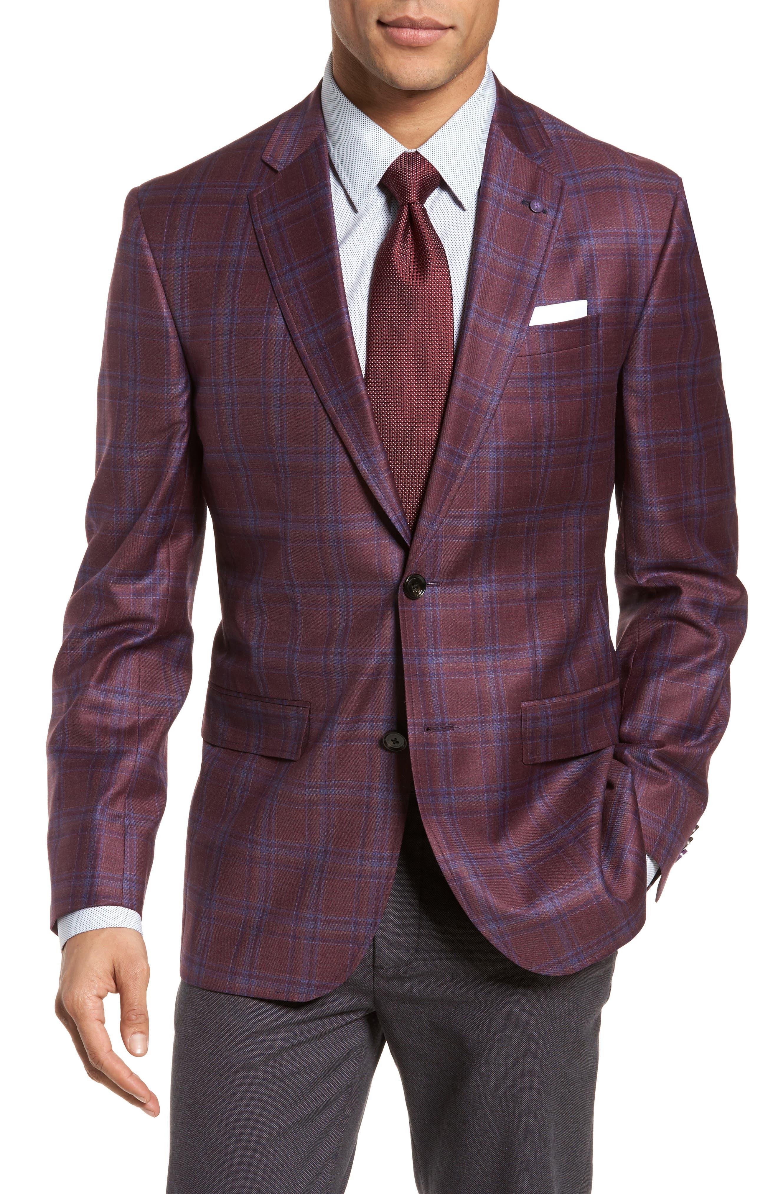 Jay Trim Fit Plaid Wool Sport Coat,                             Main thumbnail 1, color,                             Red