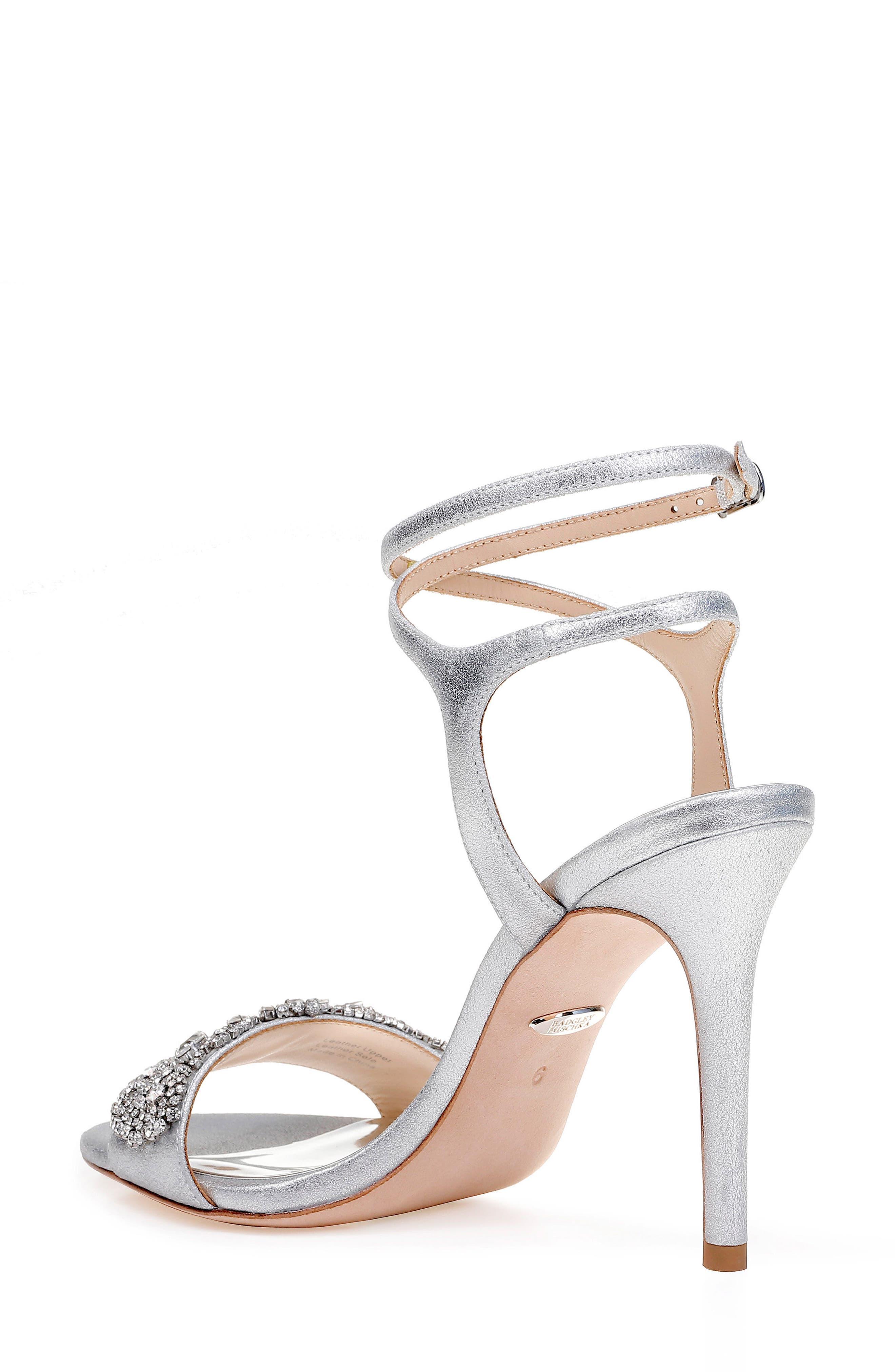 Hailey Embellished Ankle Strap Sandal,                             Alternate thumbnail 2, color,                             Silver Metallic Suede