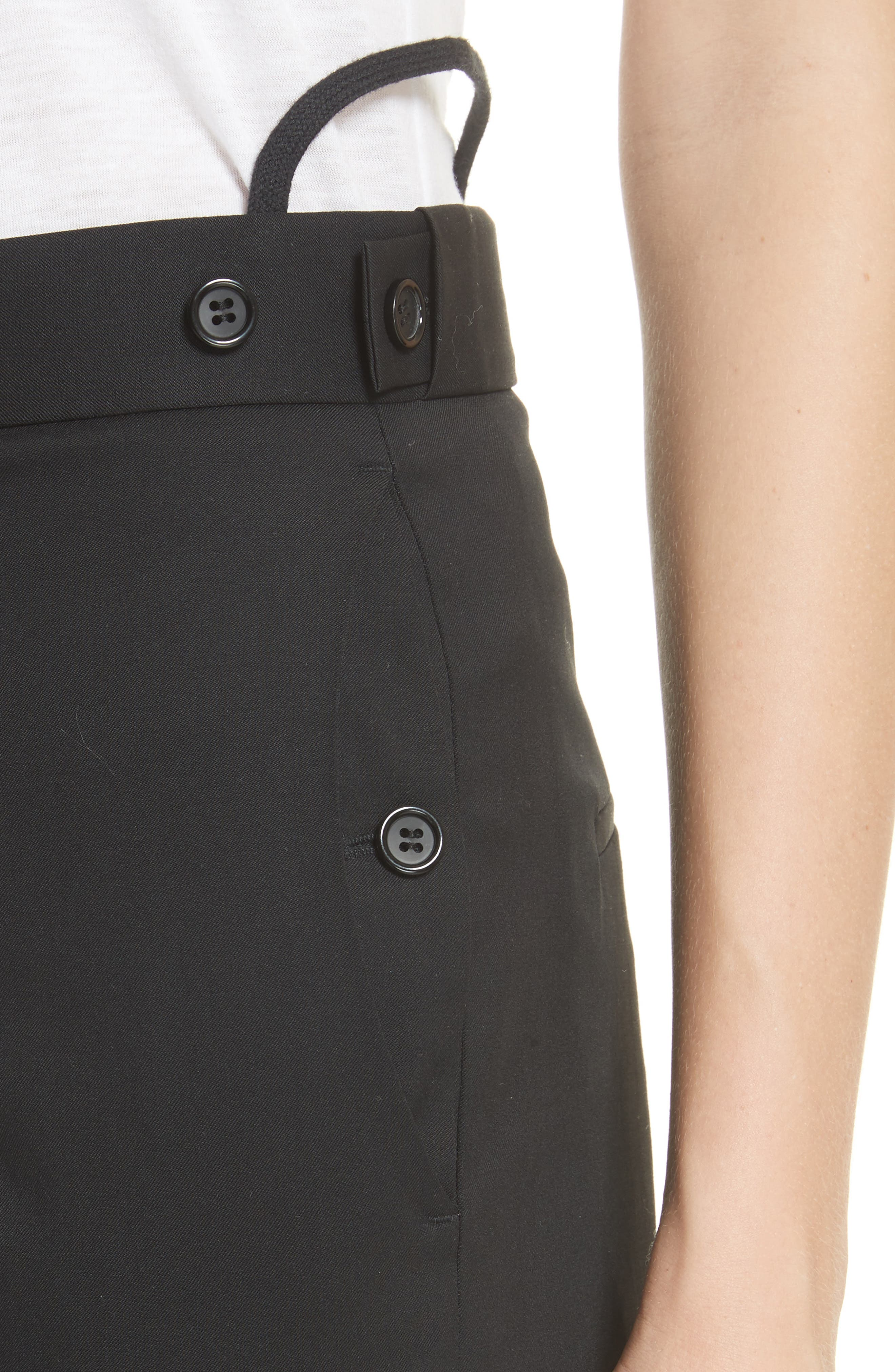 Straight Leg Wool Trousers,                             Alternate thumbnail 4, color,                             Black