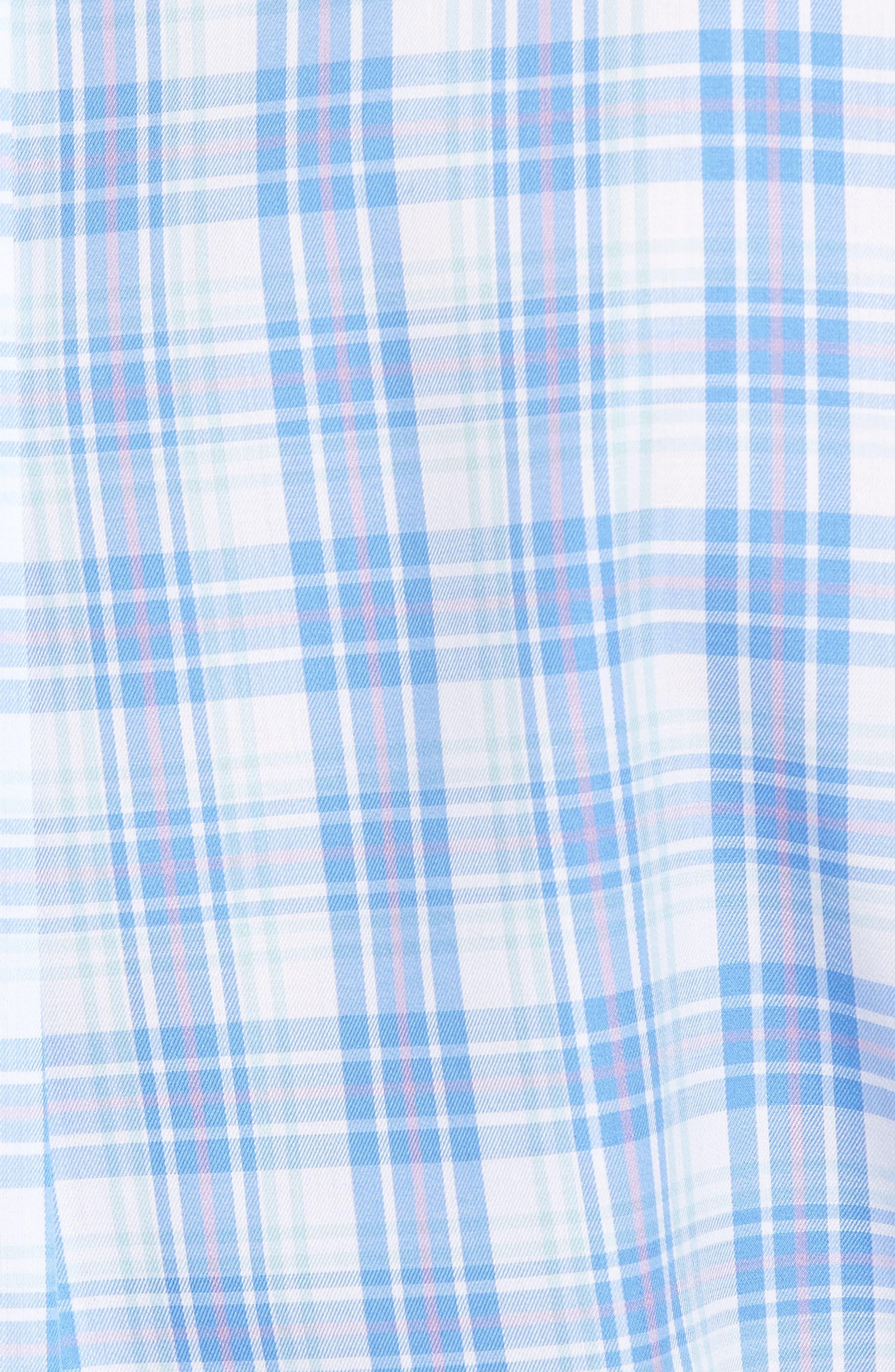 Crown Ease Sloan Regular Fit Plaid Sport Shirt,                             Alternate thumbnail 5, color,                             Atlas Blue