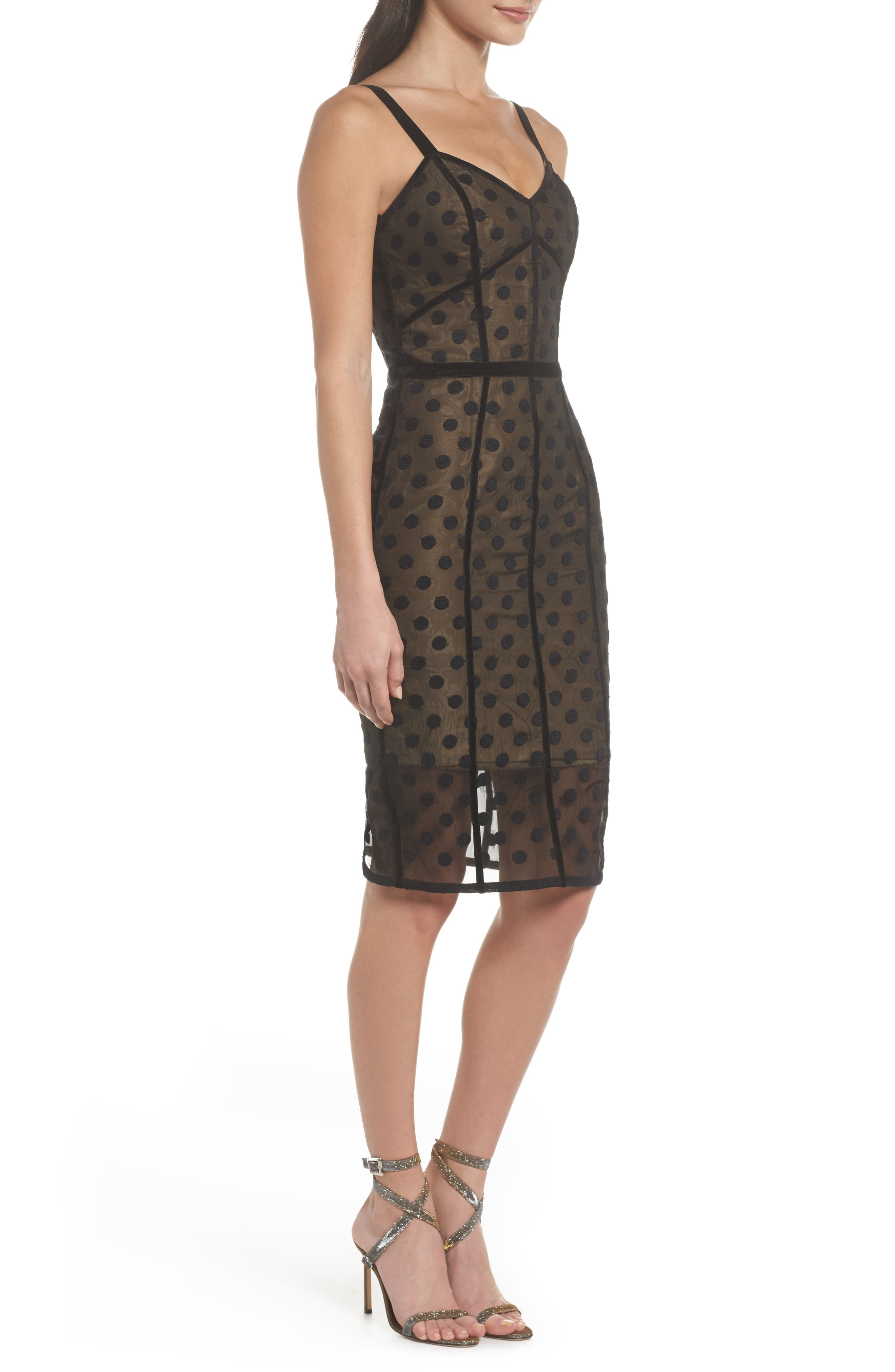 Isabella Noir Dot Embroidered Body-Con Dress,                             Alternate thumbnail 7, color,                             Black/ Nude