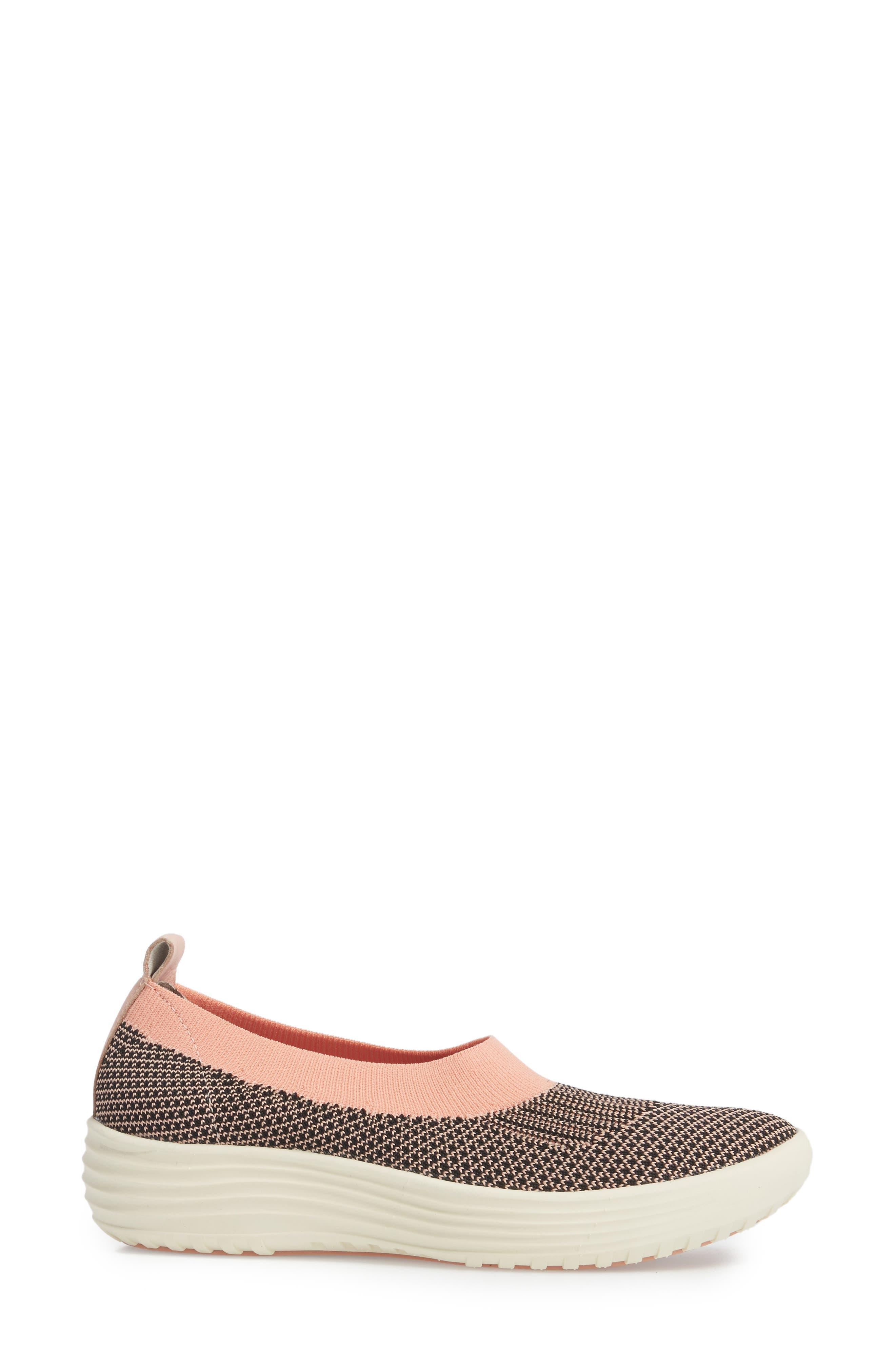 Merigold Slip-On Sock Fit Sneaker,                             Alternate thumbnail 3, color,                             Pink/ Black Knit Fabric