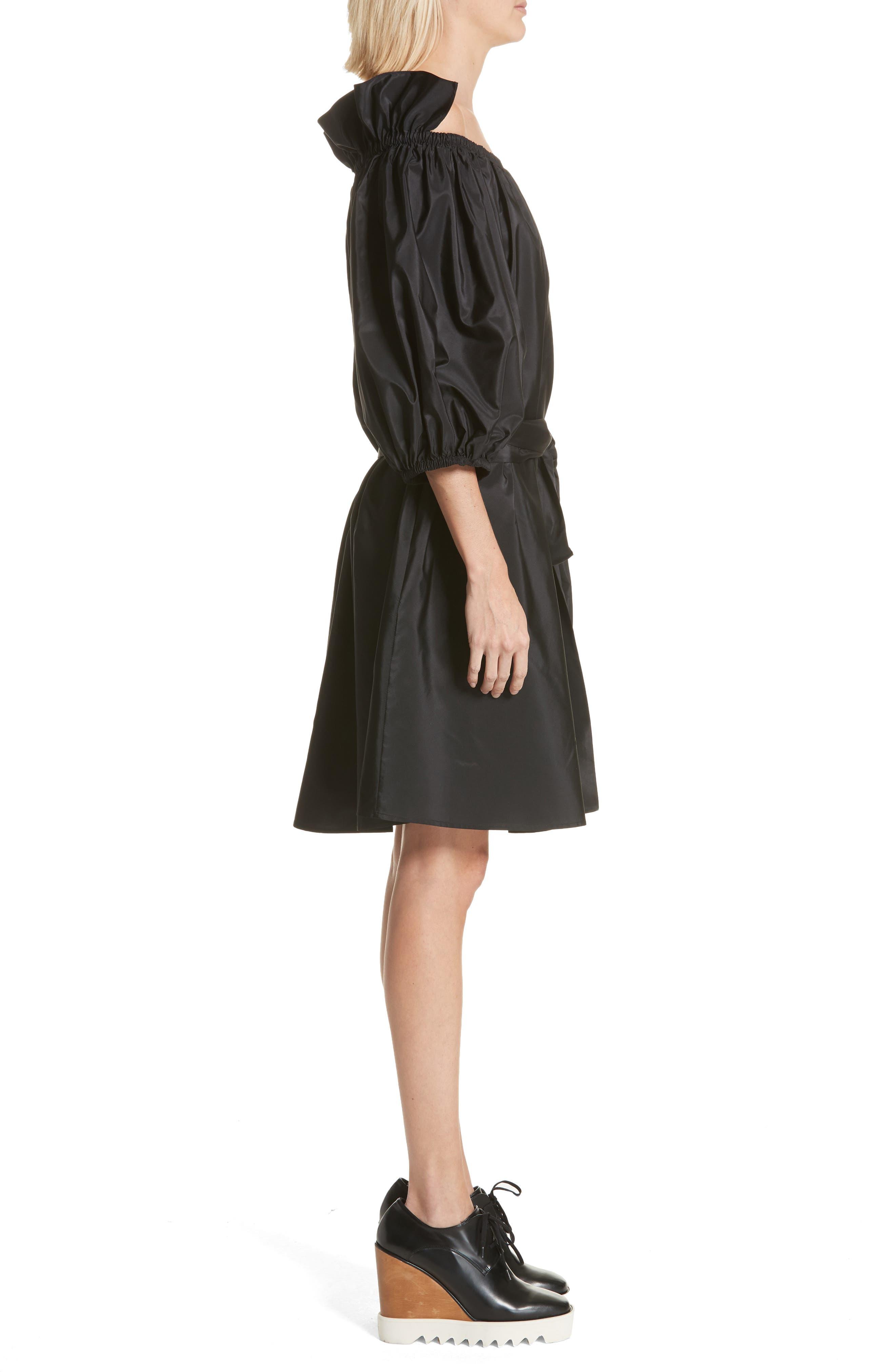 Belted Off the Shoulder Taffeta Dress,                             Alternate thumbnail 3, color,                             Black