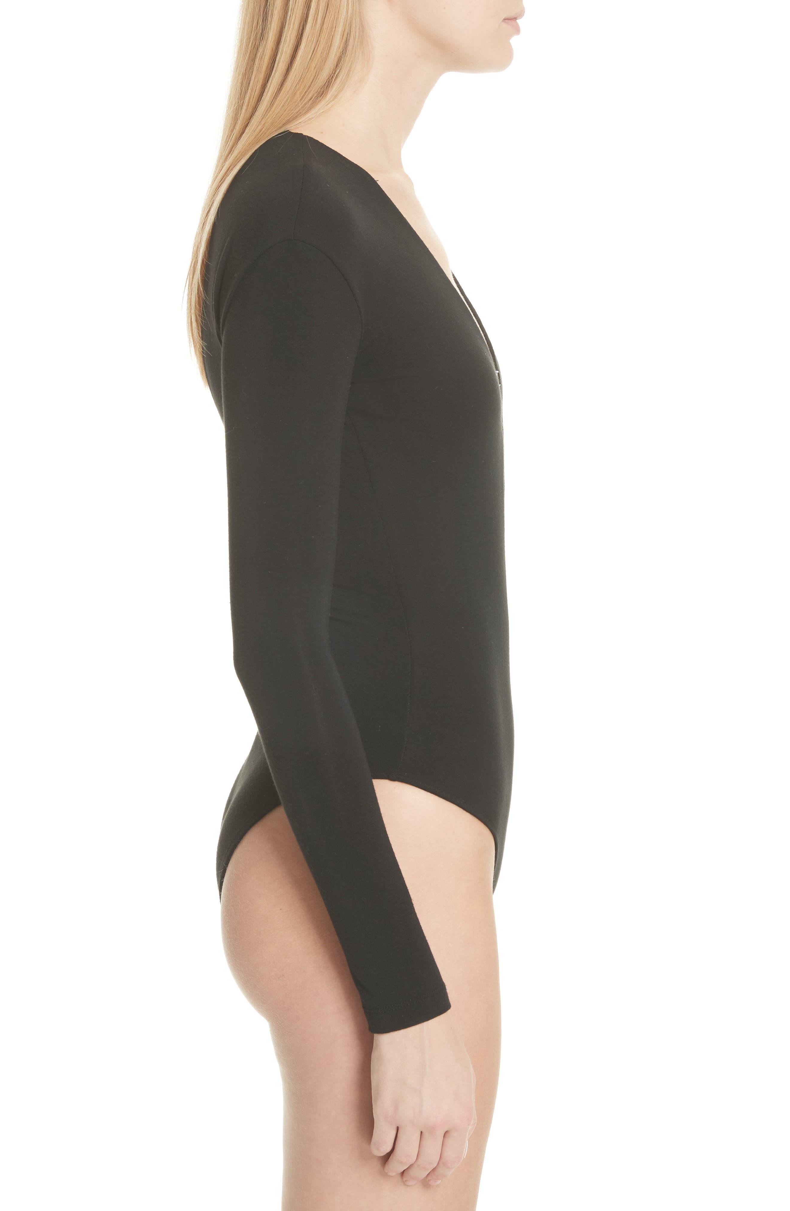Strap Detail Stretch Jersey Bodysuit,                             Alternate thumbnail 3, color,                             Black