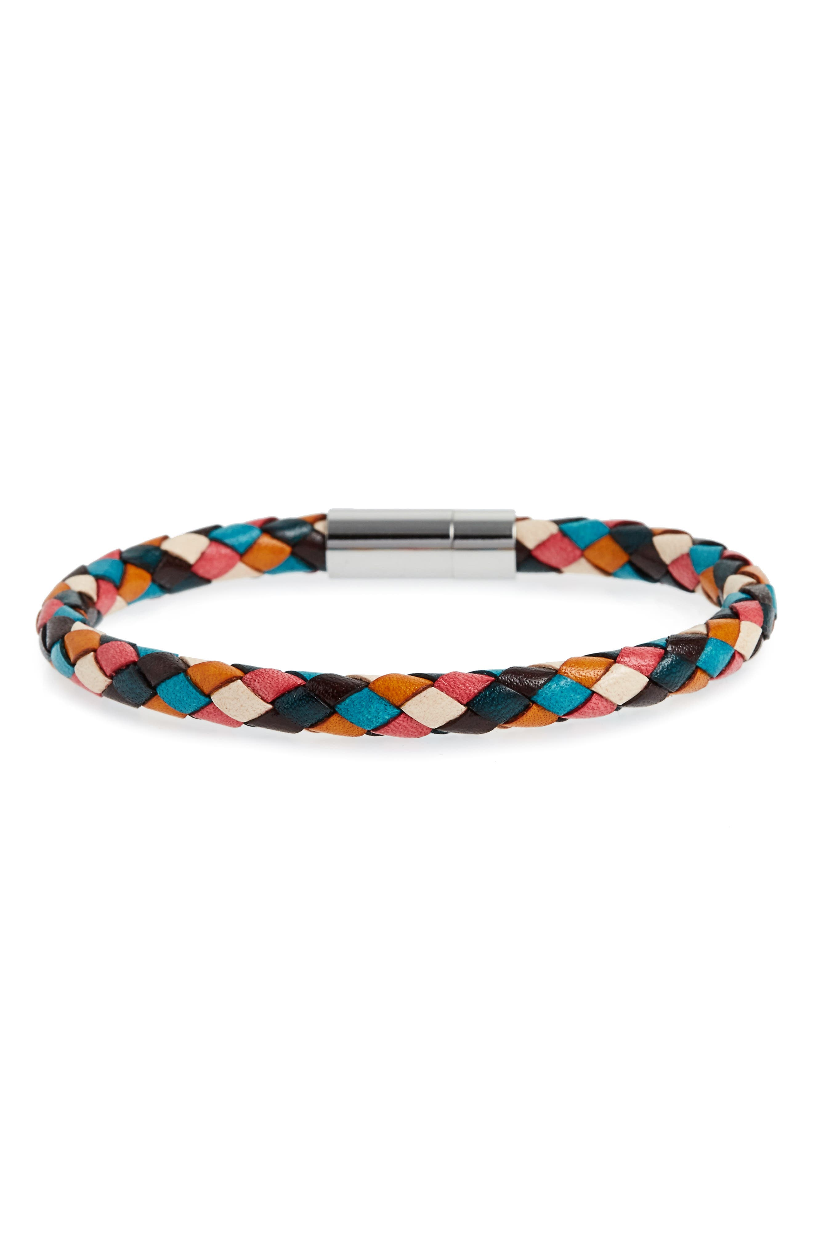 Woven Leather Bracelet,                         Main,                         color, Multi