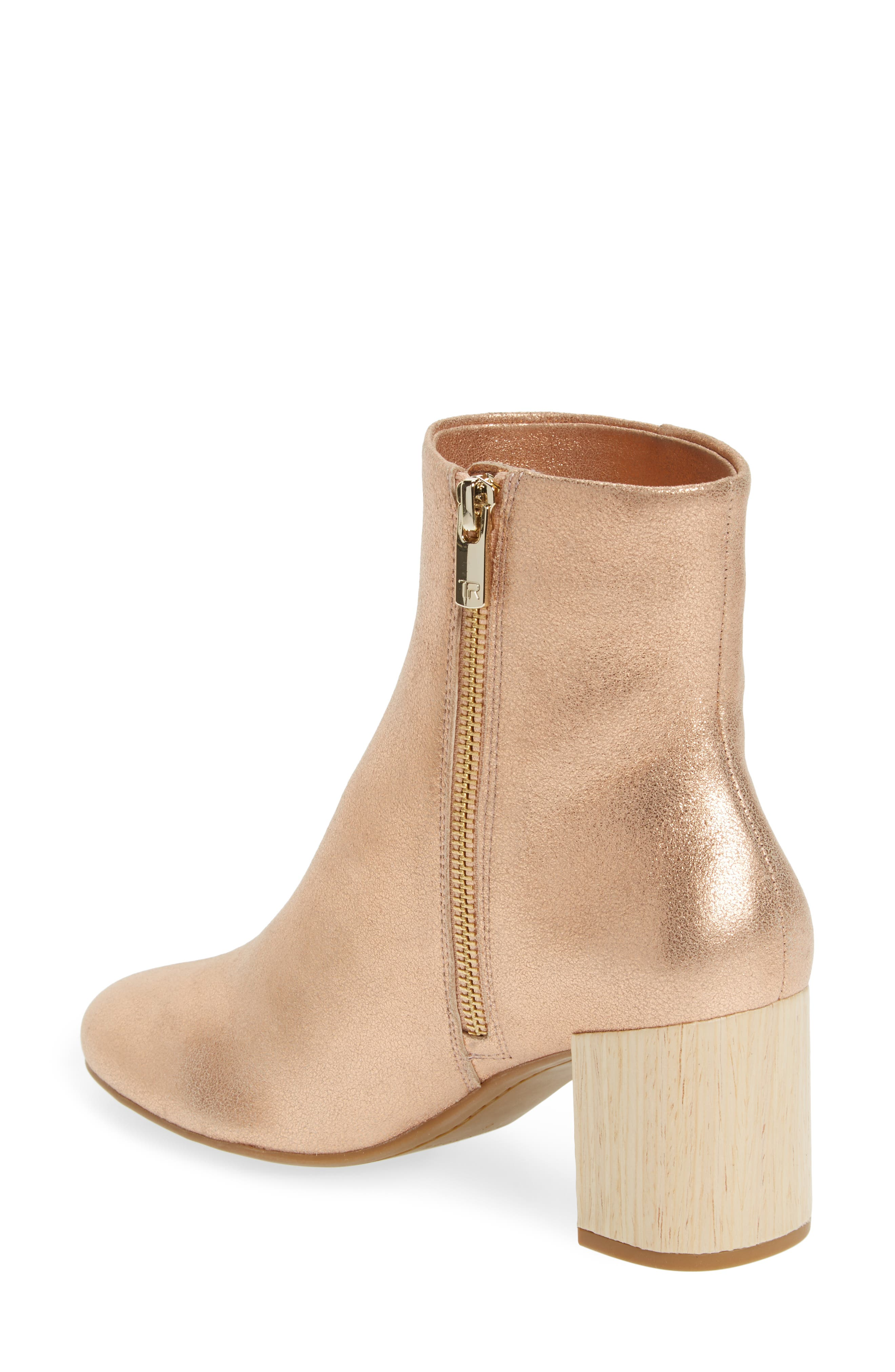 Cassidy Block Heel Bootie,                             Alternate thumbnail 2, color,                             Rose Gold Leather