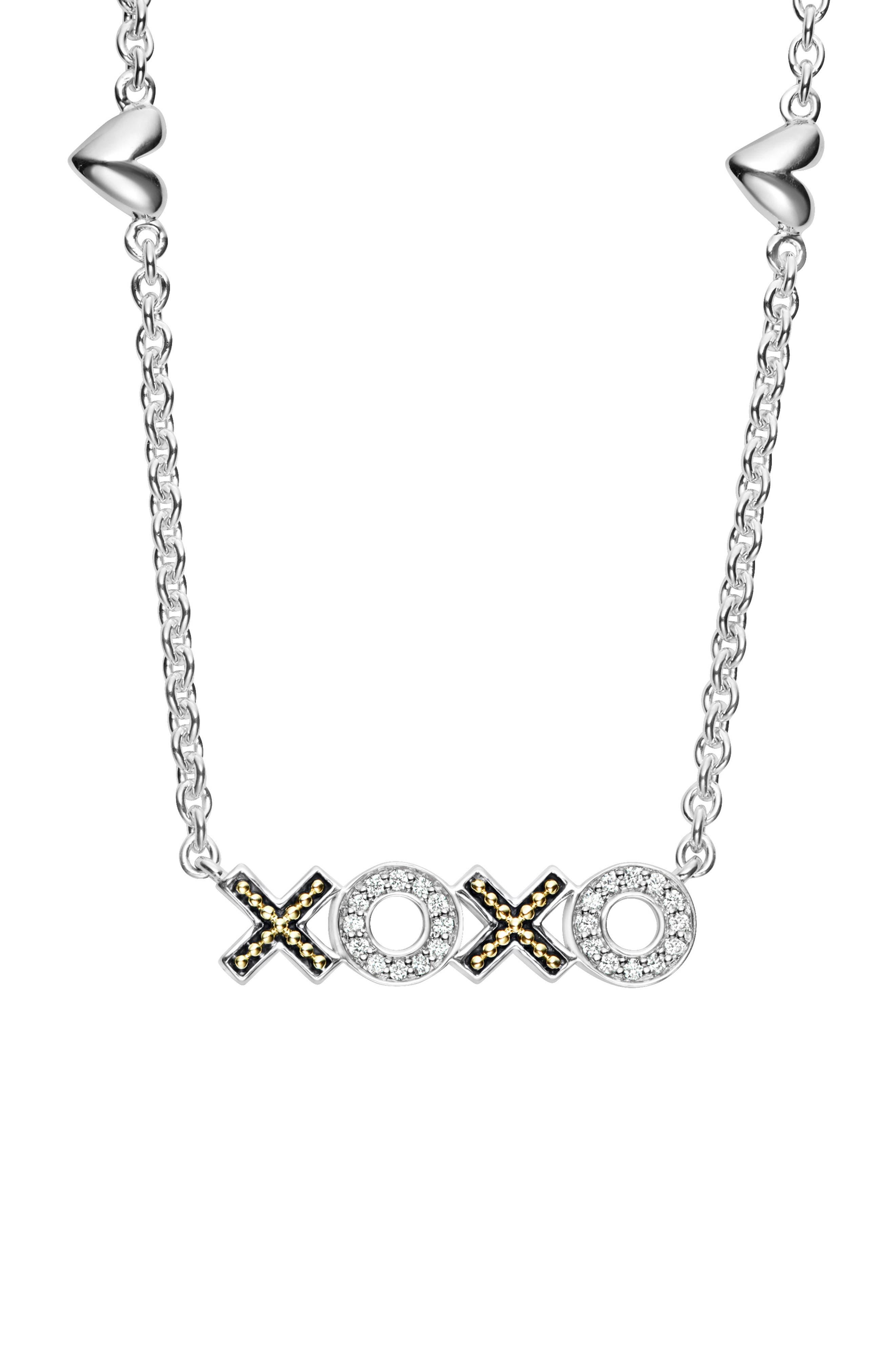 Beloved Diamond XOXO Chain Necklace,                             Alternate thumbnail 3, color,                             Silver/ Diamond