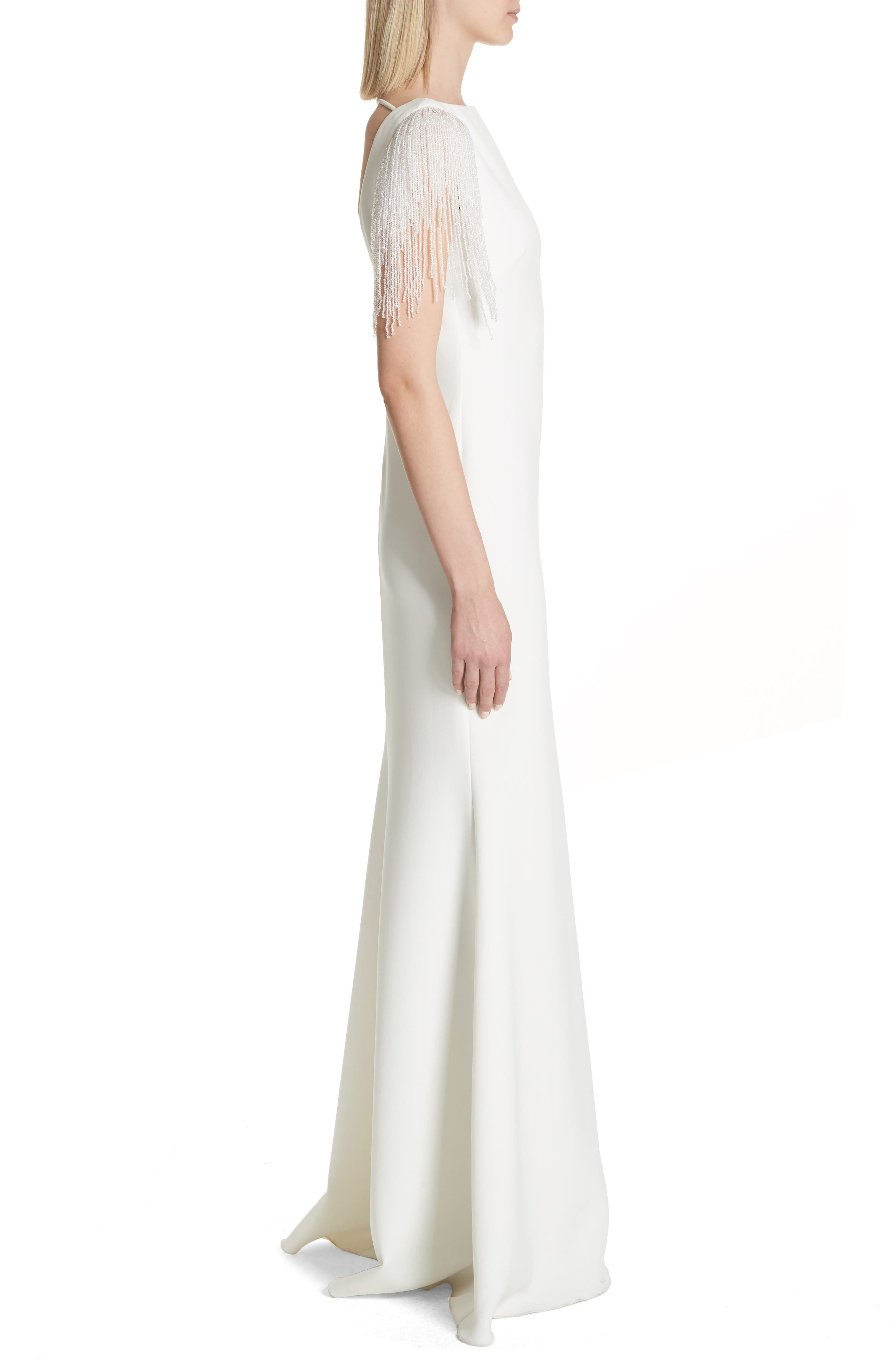 Platinum Fringe Sleeve Back Cutout Gown,                             Alternate thumbnail 3, color,                             Light Ivory