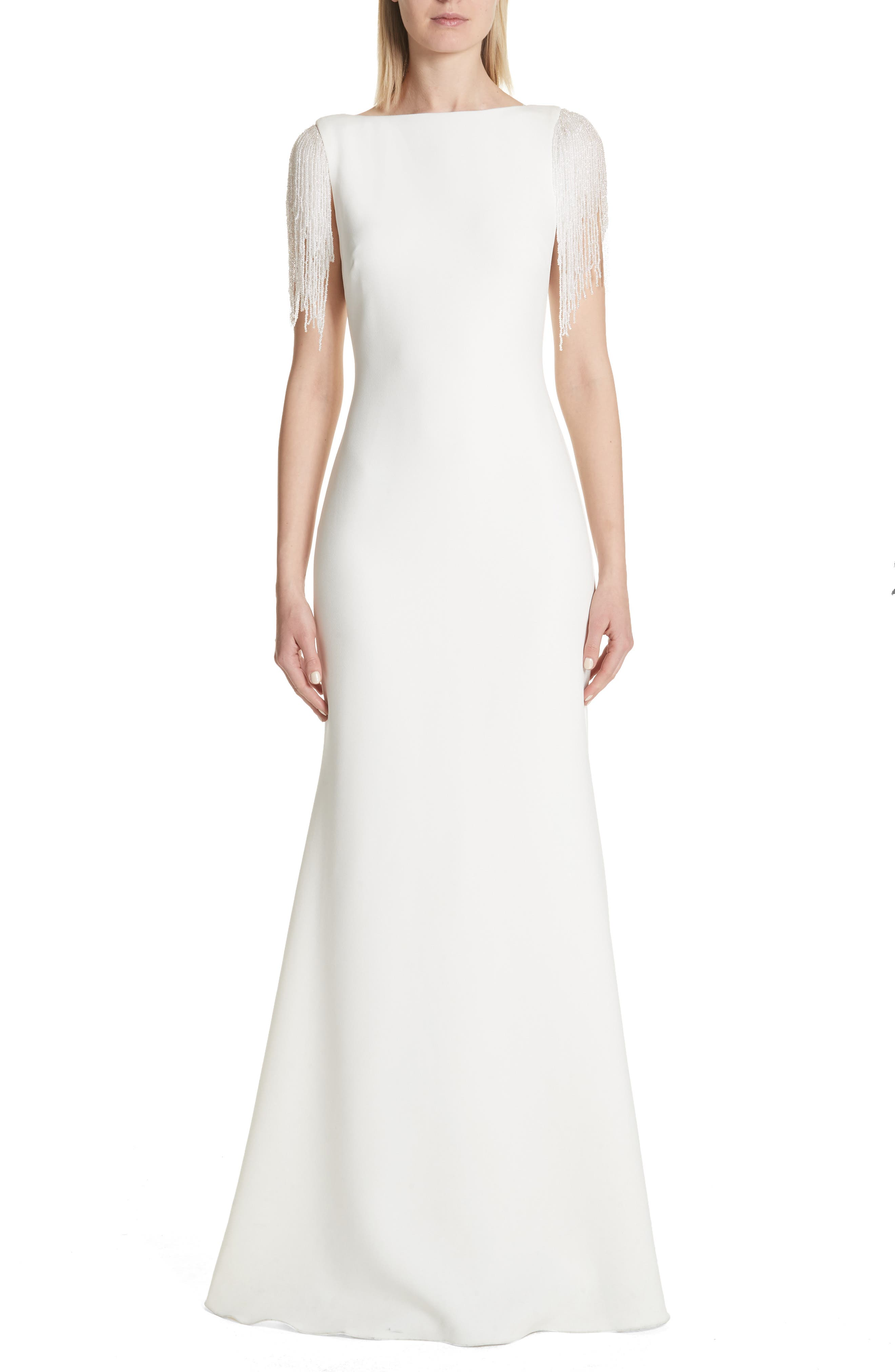 Badgley Mischka Platinum Fringe Sleeve Back Cutout Gown