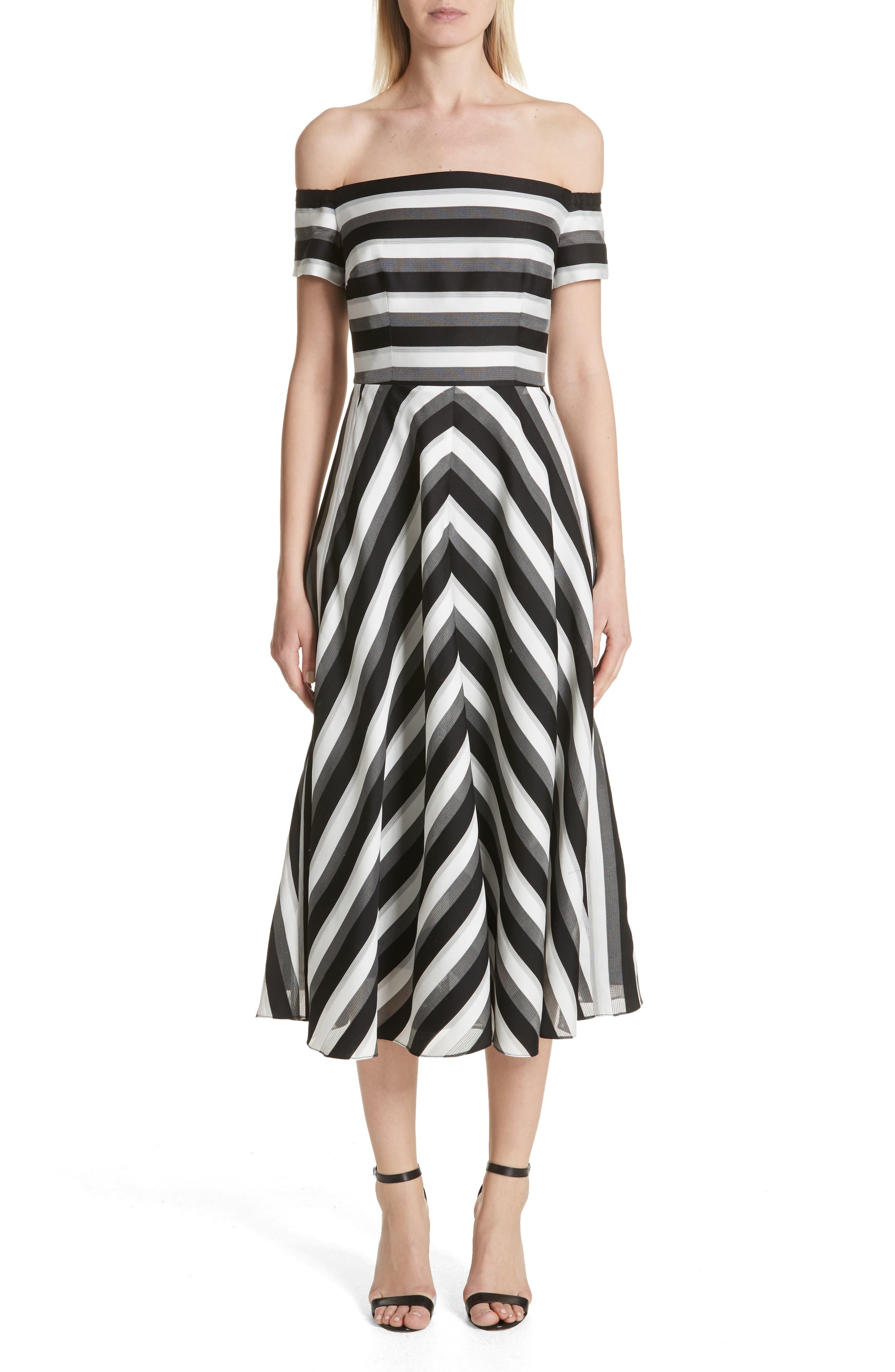 Lela Rose Cotton & Silk Off the Shoulder Midi Dress