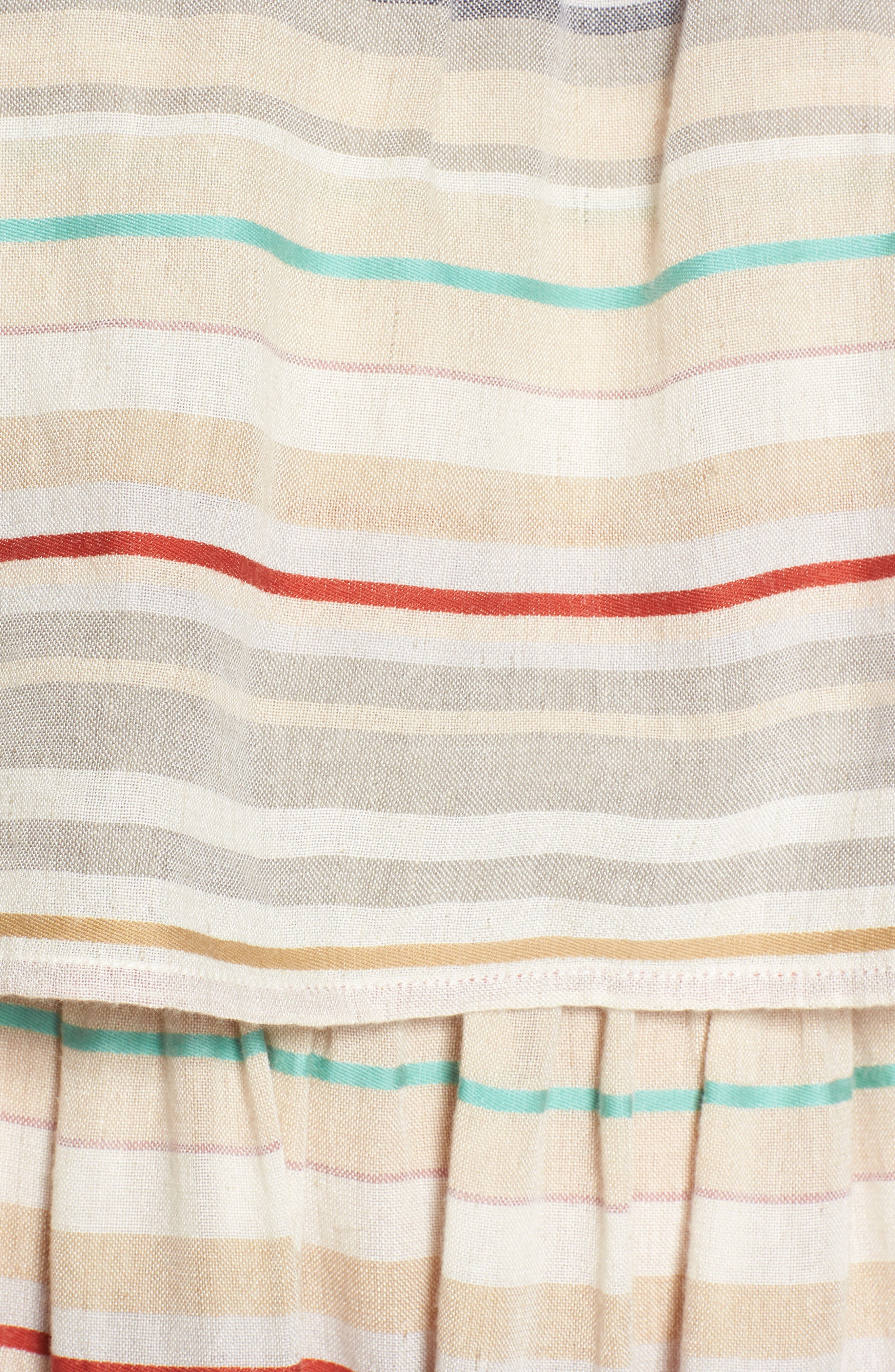 Stripe Off the Shoulder Dress,                             Alternate thumbnail 5, color,                             Beige Nougat Multi Stripe