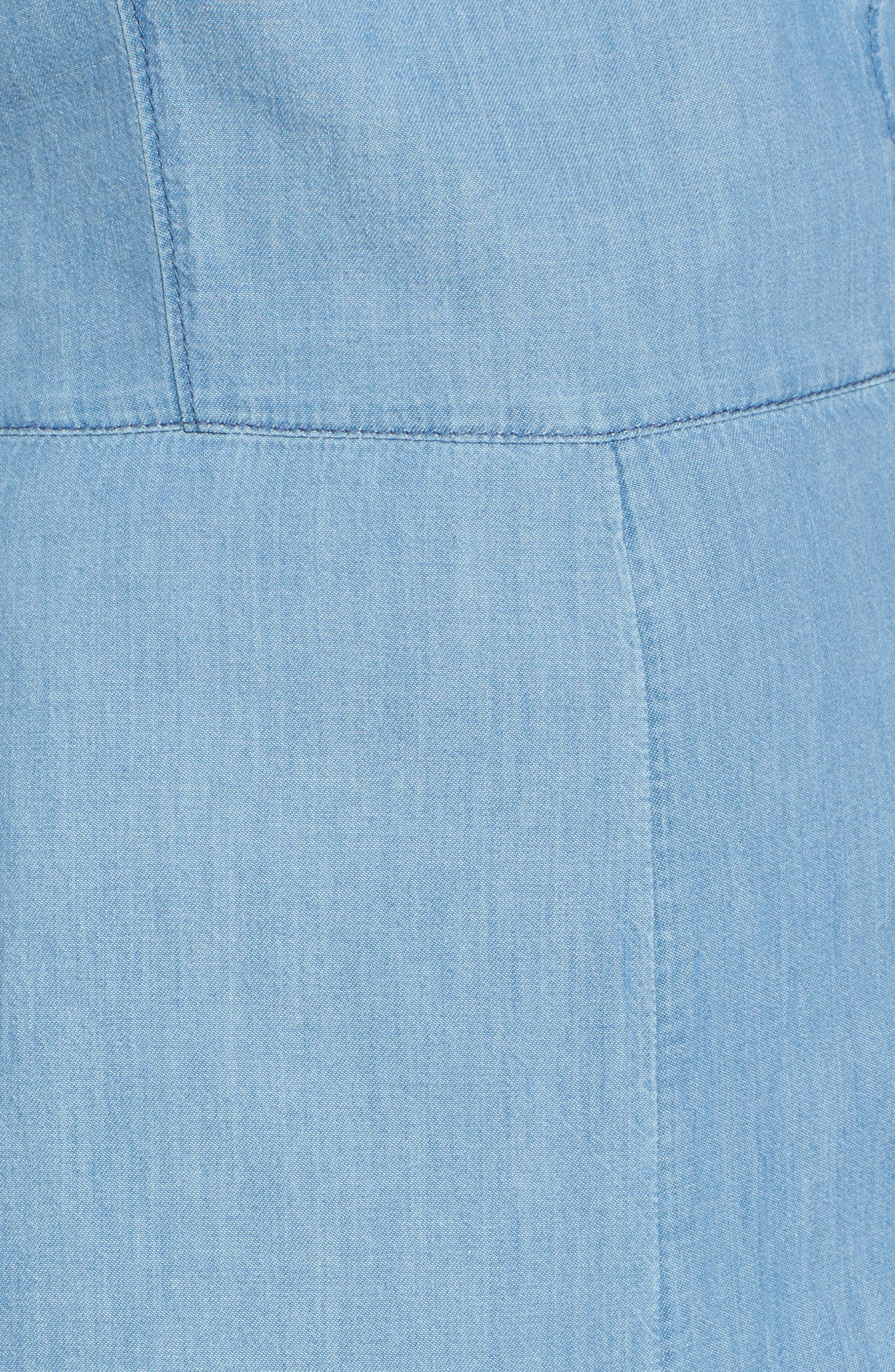 Chambray Apron Crop Jumpsuit,                             Alternate thumbnail 5, color,                             Medium Light Wash