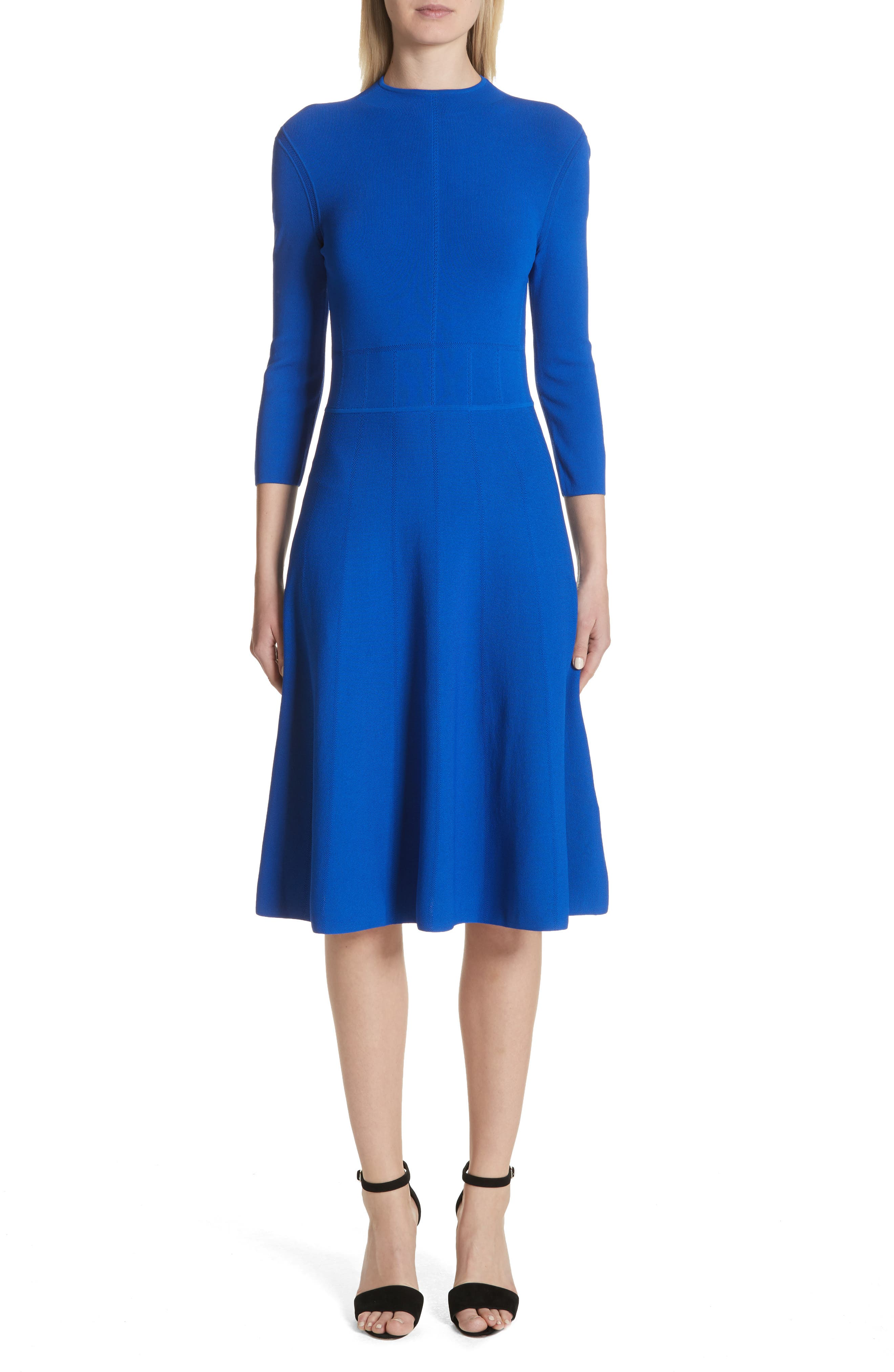 Alternate Image 1 Selected - Emporio Armani High Neck Fit & Flare Dress