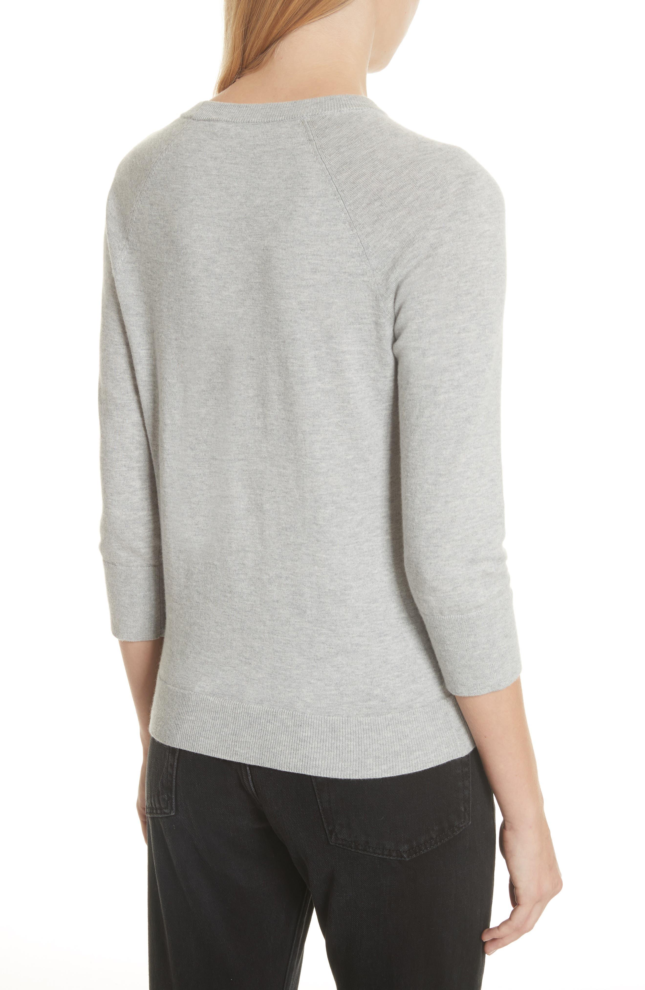 Cotton & Cashmere Sweater,                             Alternate thumbnail 2, color,                             Light Heather Grey