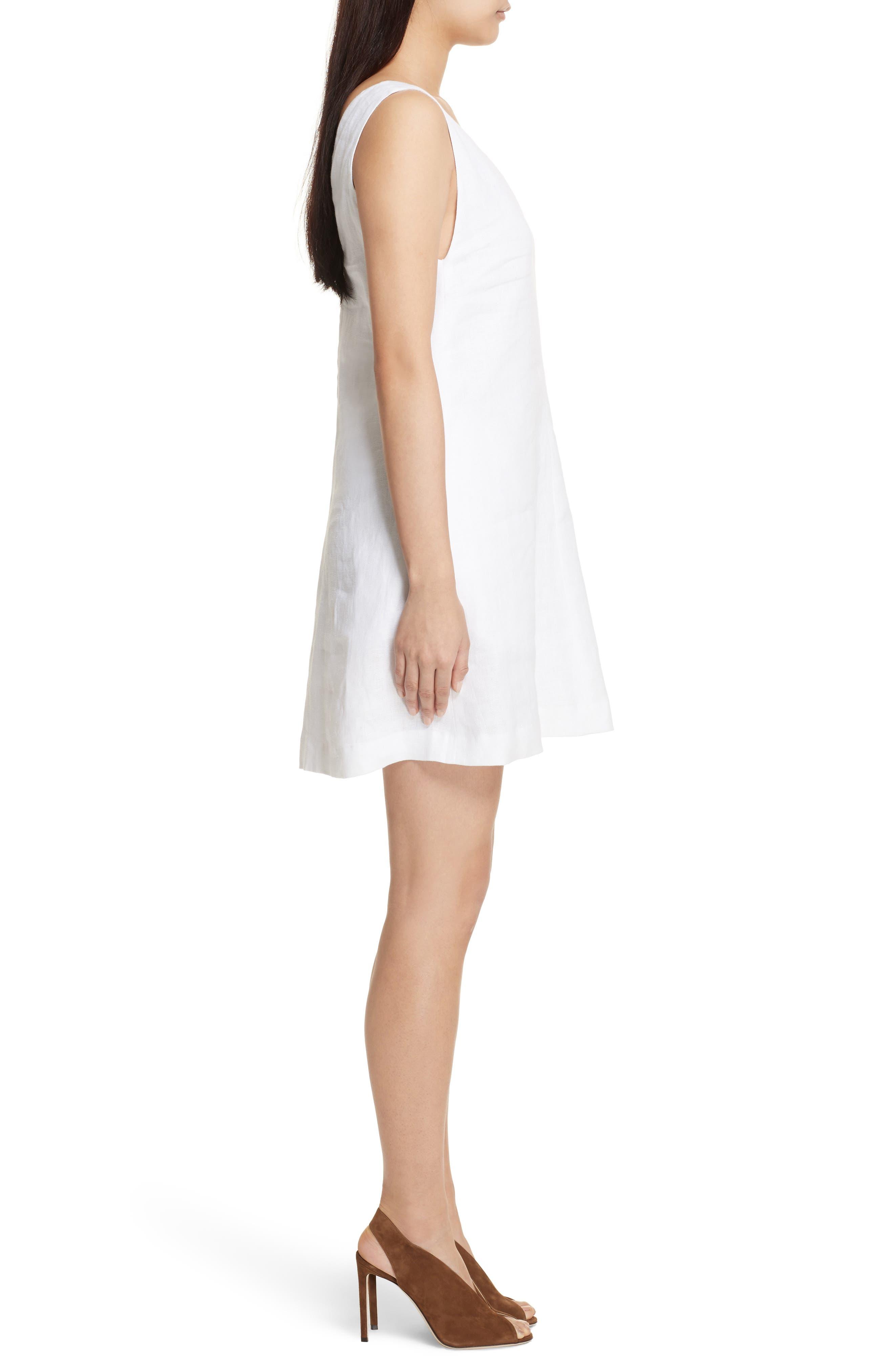 Linen Shift Dress,                             Alternate thumbnail 3, color,                             White