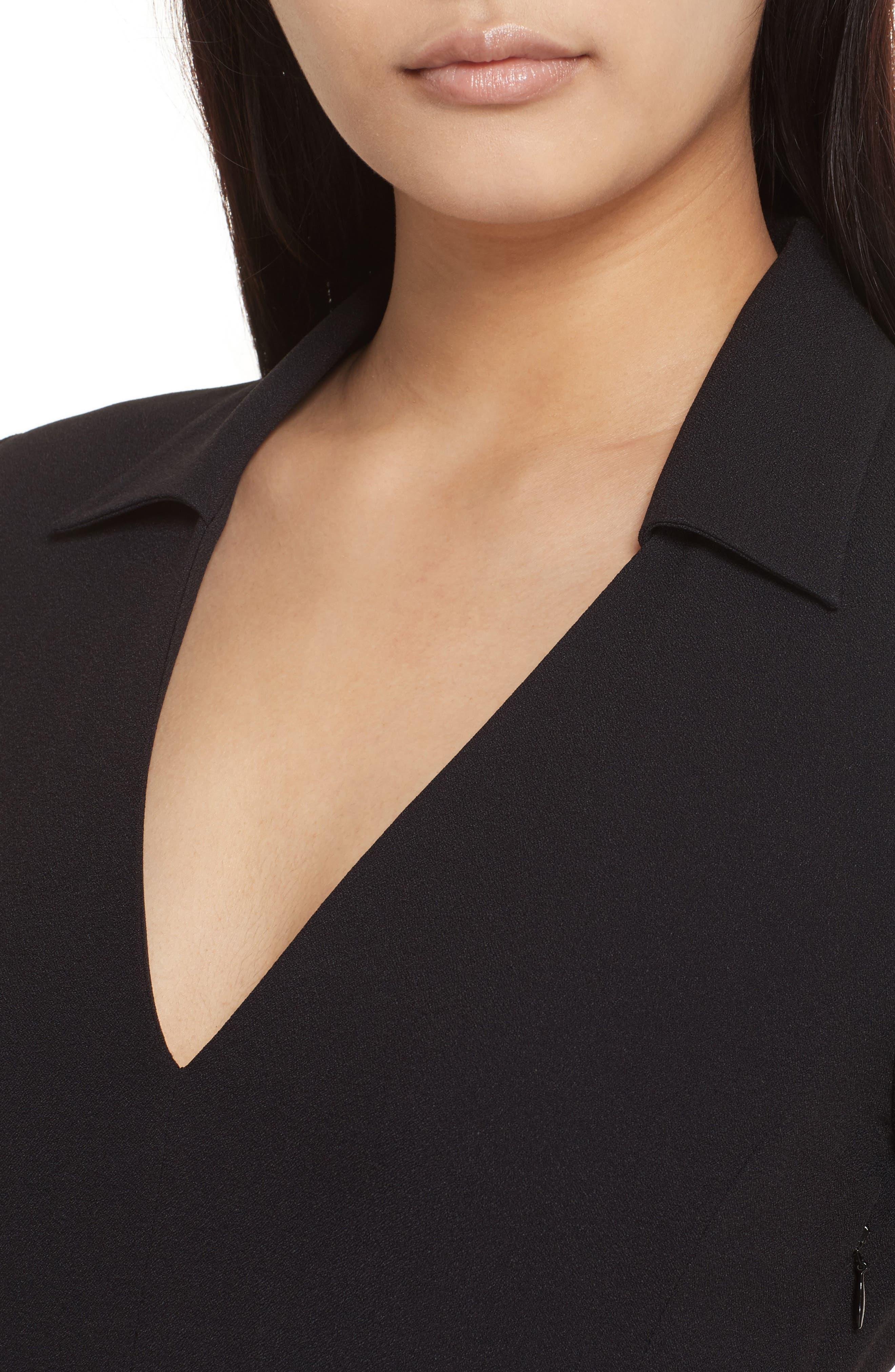 Rosina Easy Day Crepe Dress,                             Alternate thumbnail 4, color,                             Black