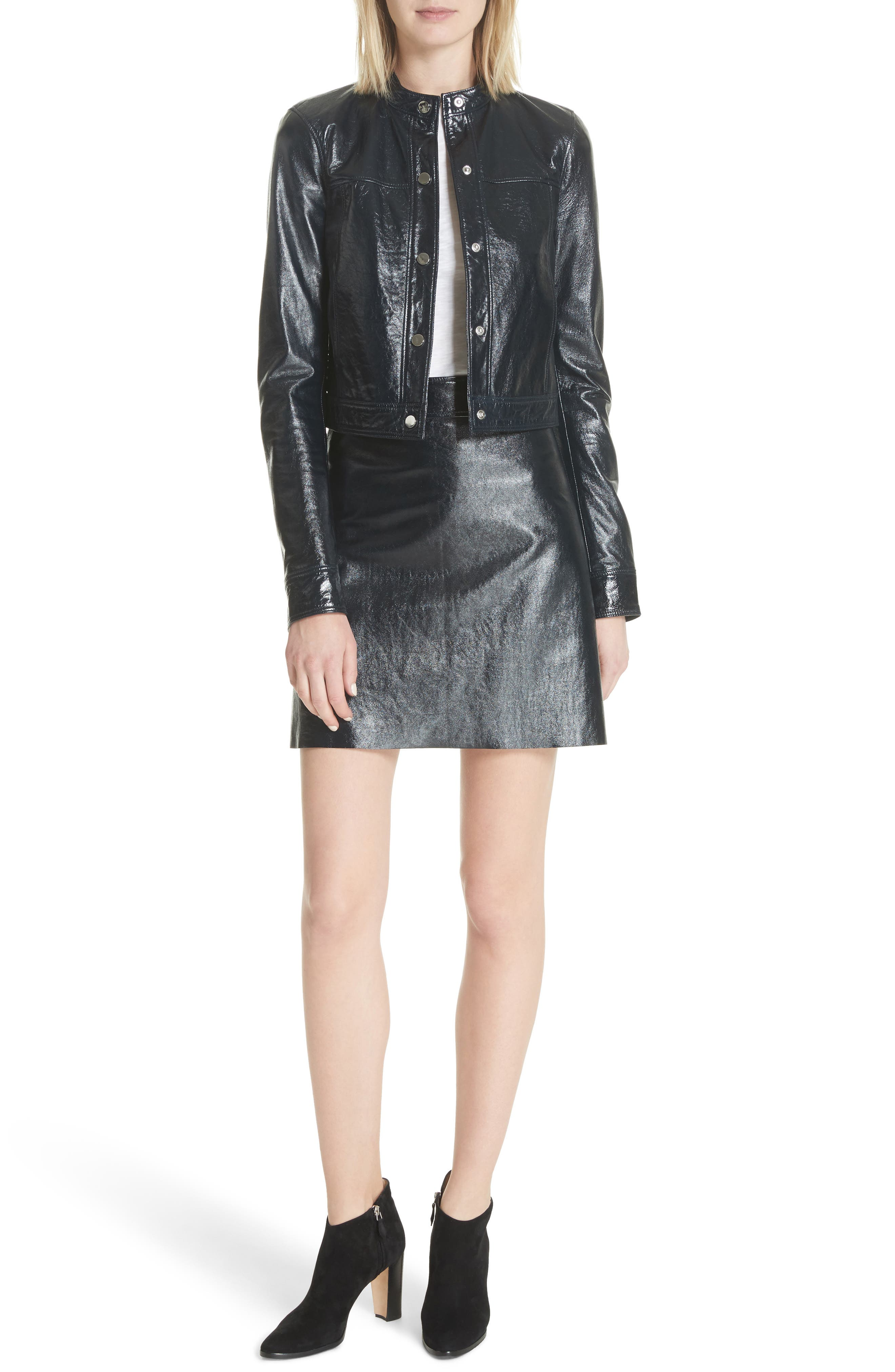 Crinkled Patent Leather Bomber Jacket,                             Alternate thumbnail 5, color,                             Abyss