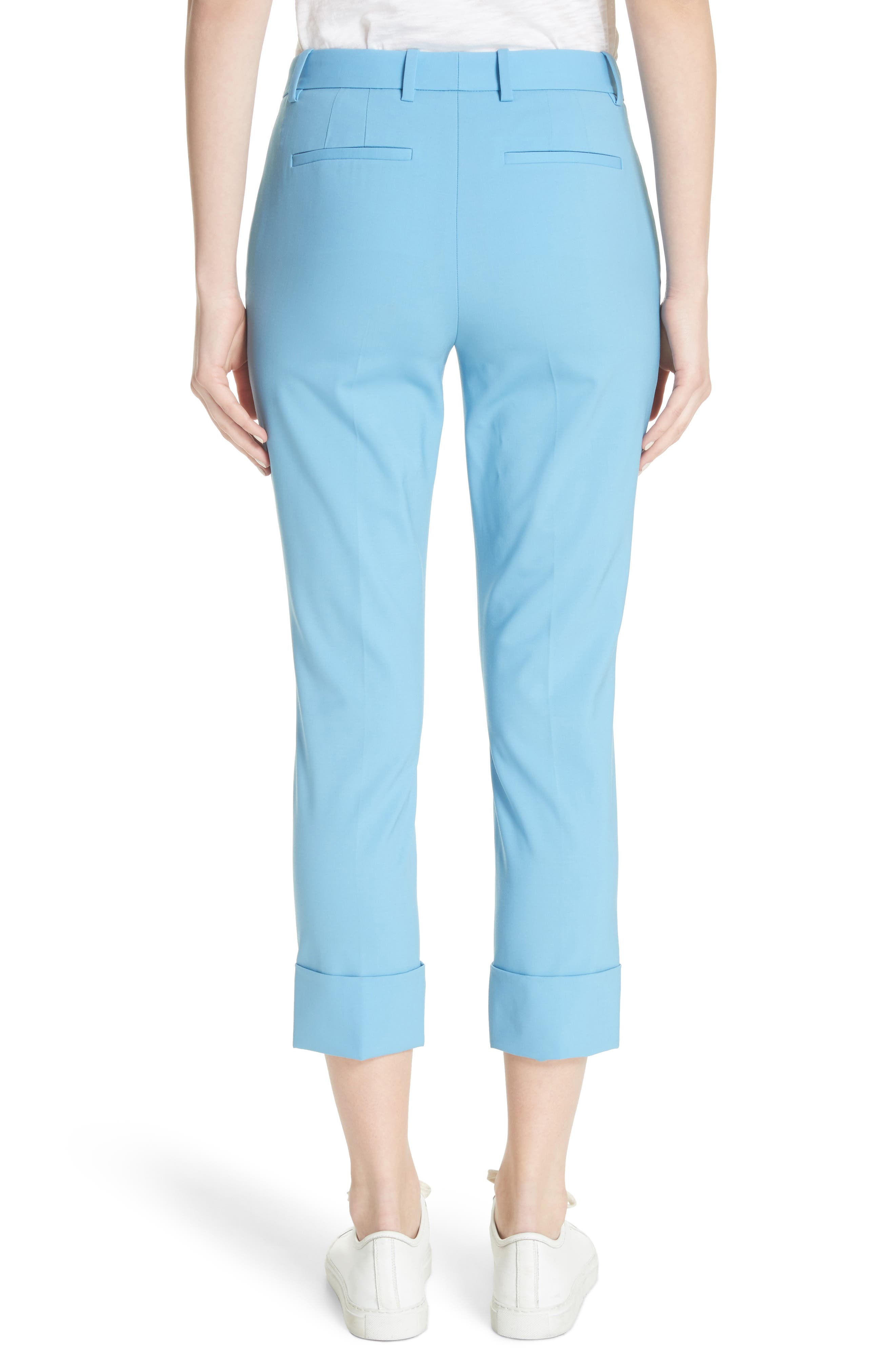 Cuffed Stretch Wool Crop Pants,                             Alternate thumbnail 2, color,                             Blue Robin