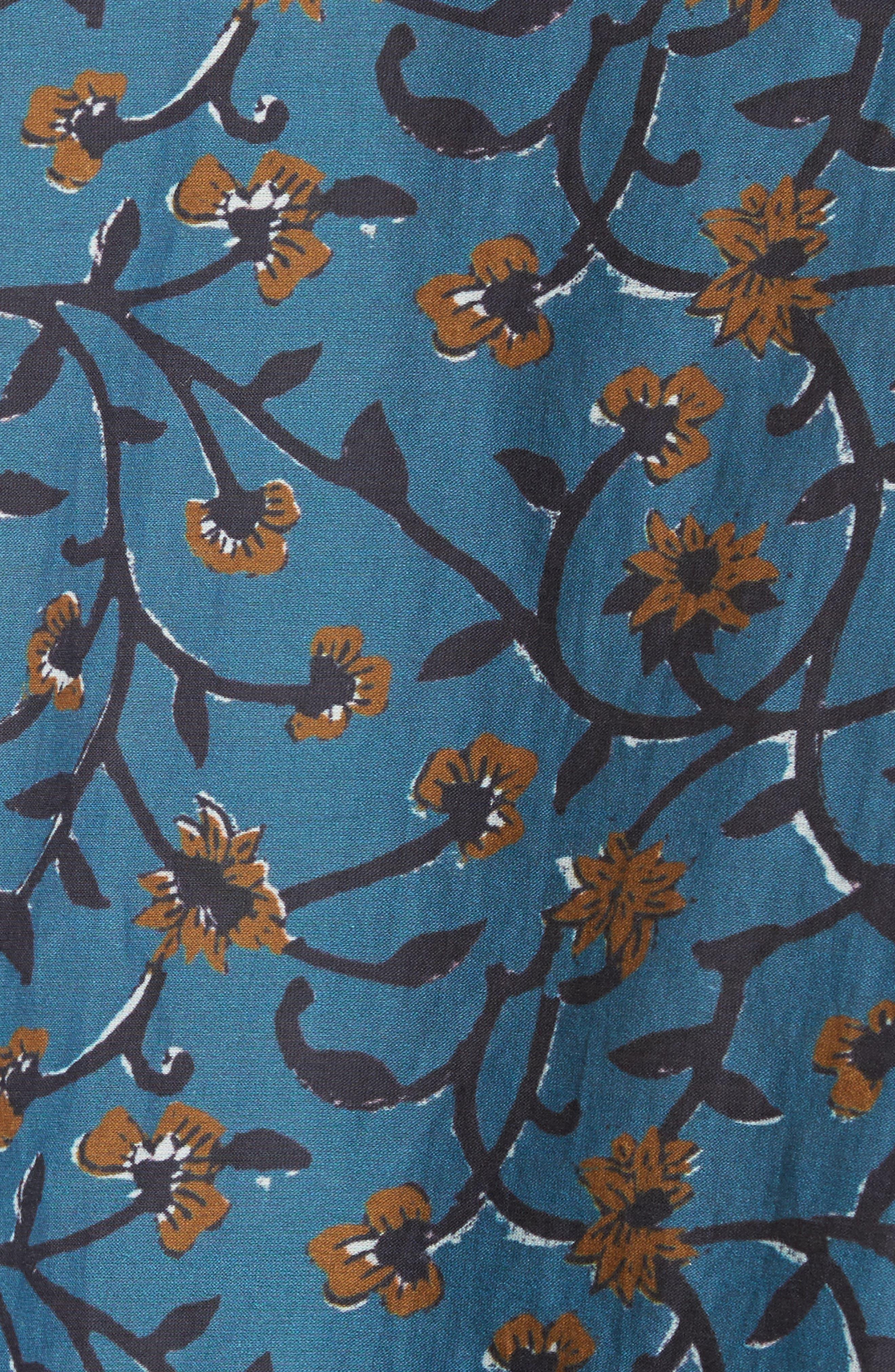 Khloe Pompom Trim Top,                             Alternate thumbnail 5, color,                             Steel Blue