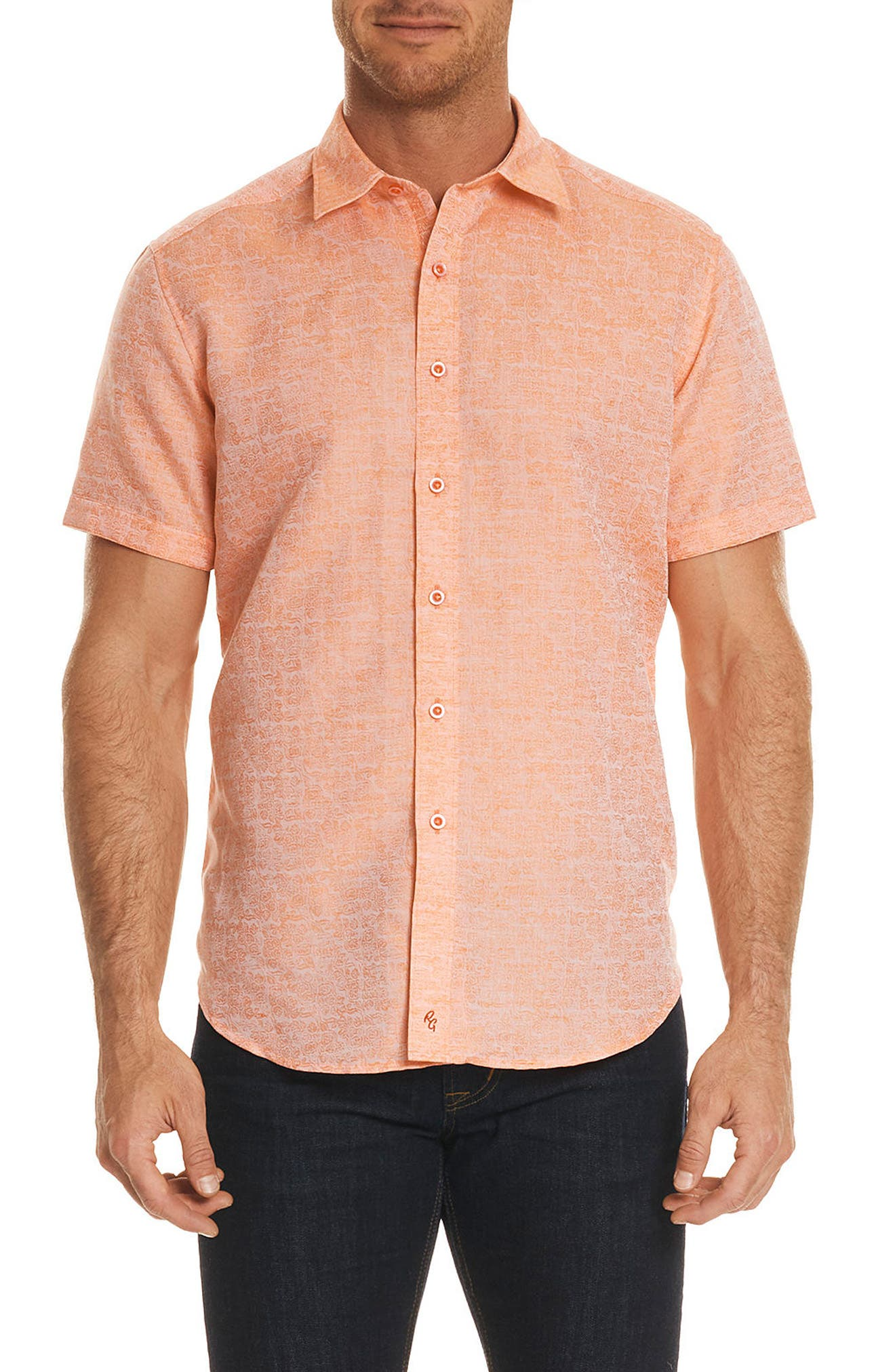 Cyprus Classic Fit Linen & Cotton Sport Shirt,                         Main,                         color, Orange