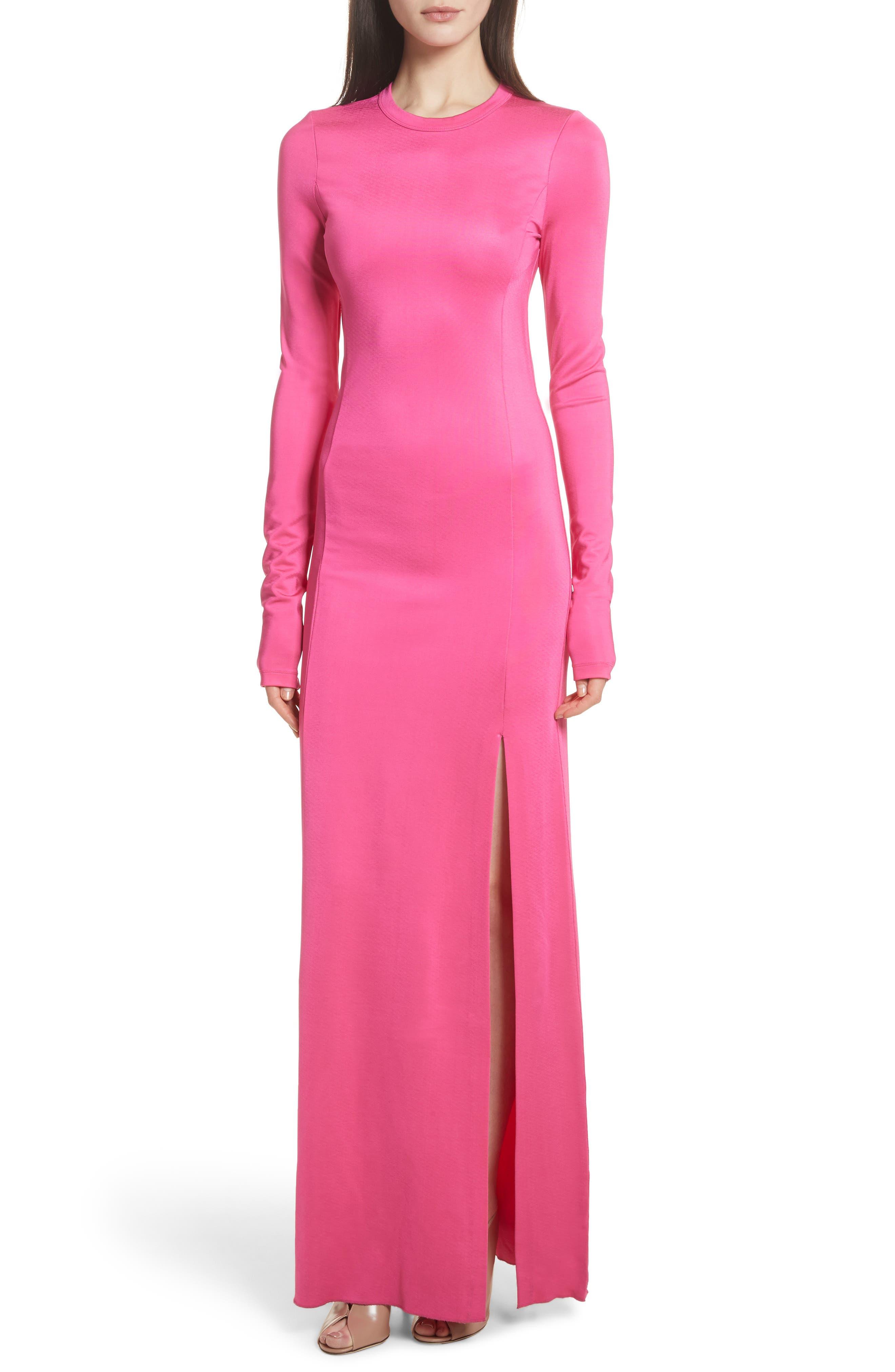Fallon Slit Skirt Jersey Maxi Dress,                             Main thumbnail 1, color,                             Flamingo