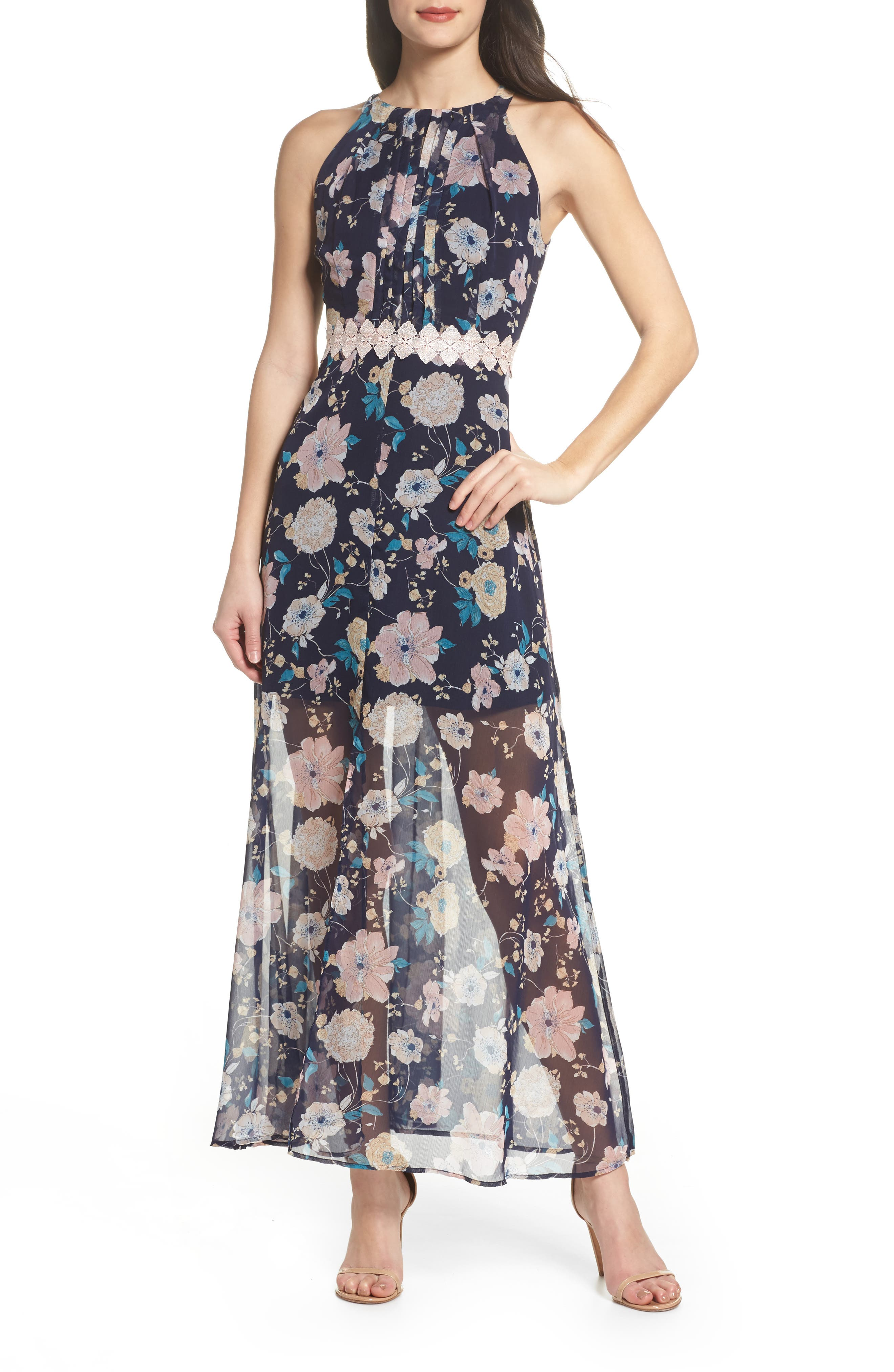 Brylee Floral Print Maxi Dress,                             Main thumbnail 1, color,                             Brylee Navy Multi