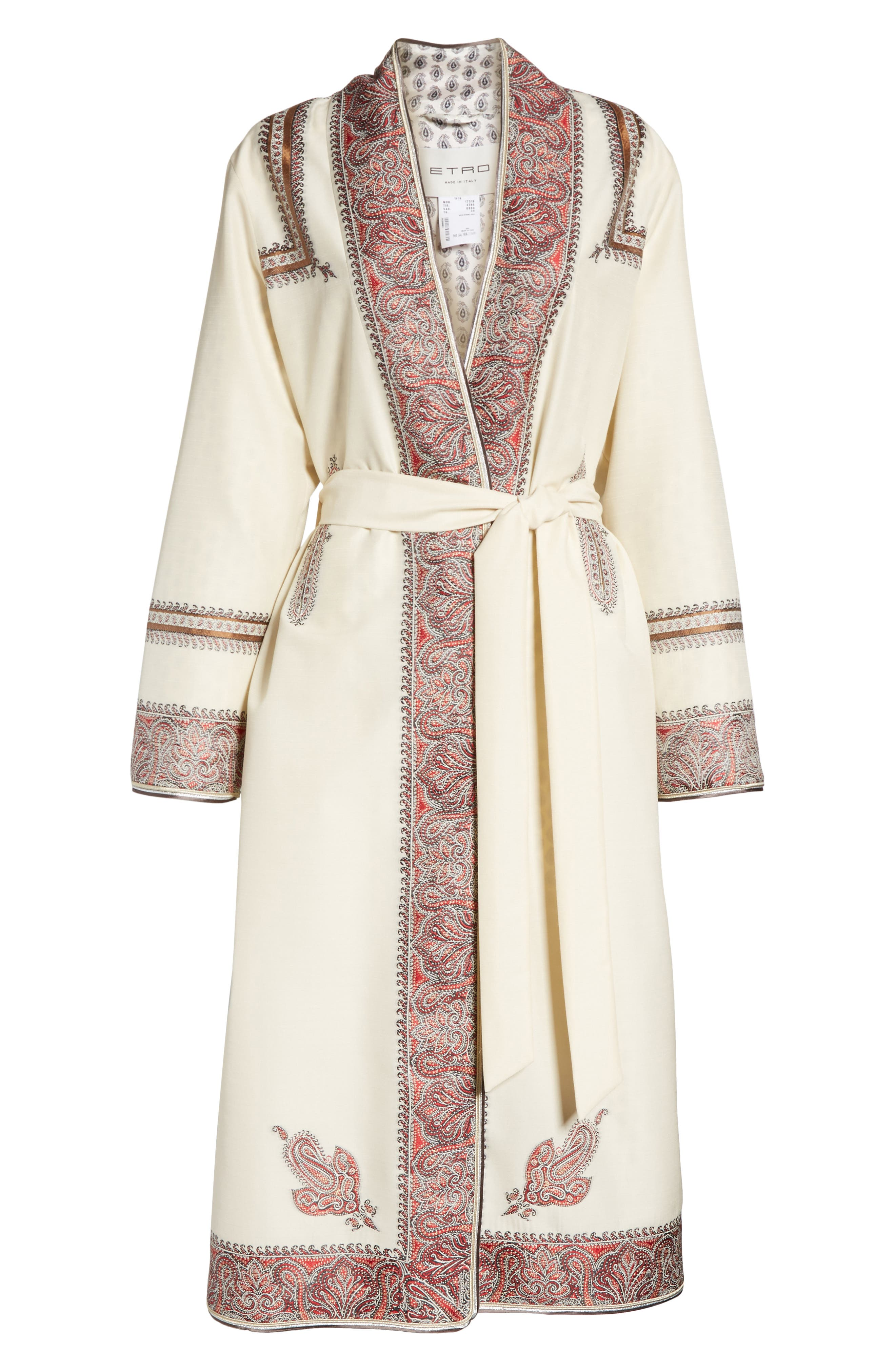Metallic Embroidered Wrap Coat,                             Alternate thumbnail 6, color,                             White