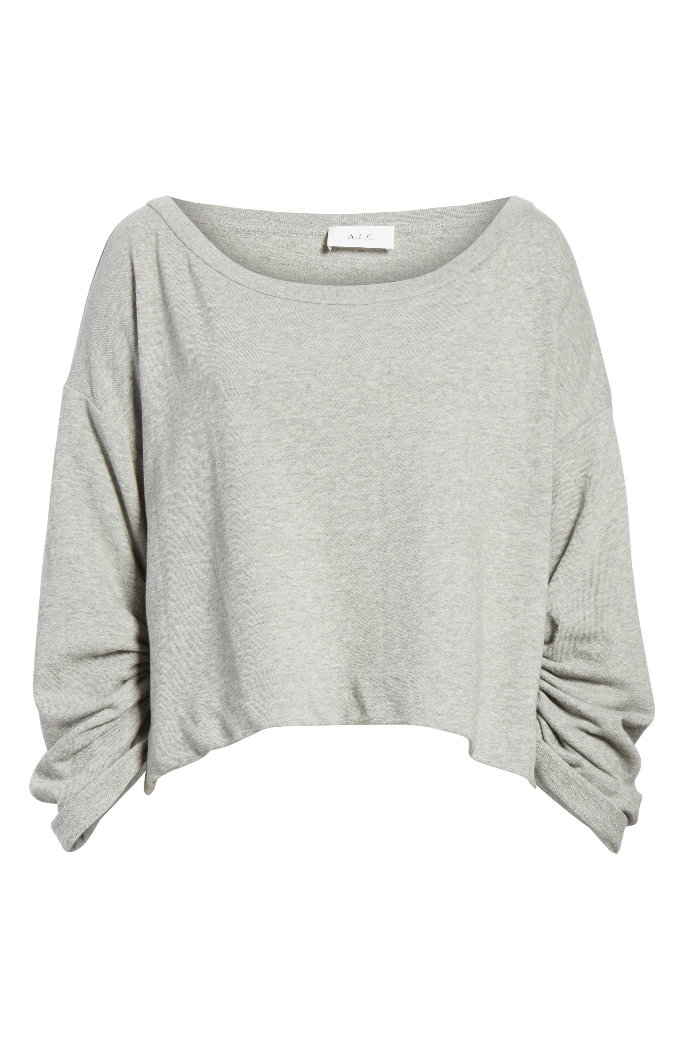 Ember Ruched Sleeve Sweatshirt,                             Alternate thumbnail 6, color,                             Heather Grey
