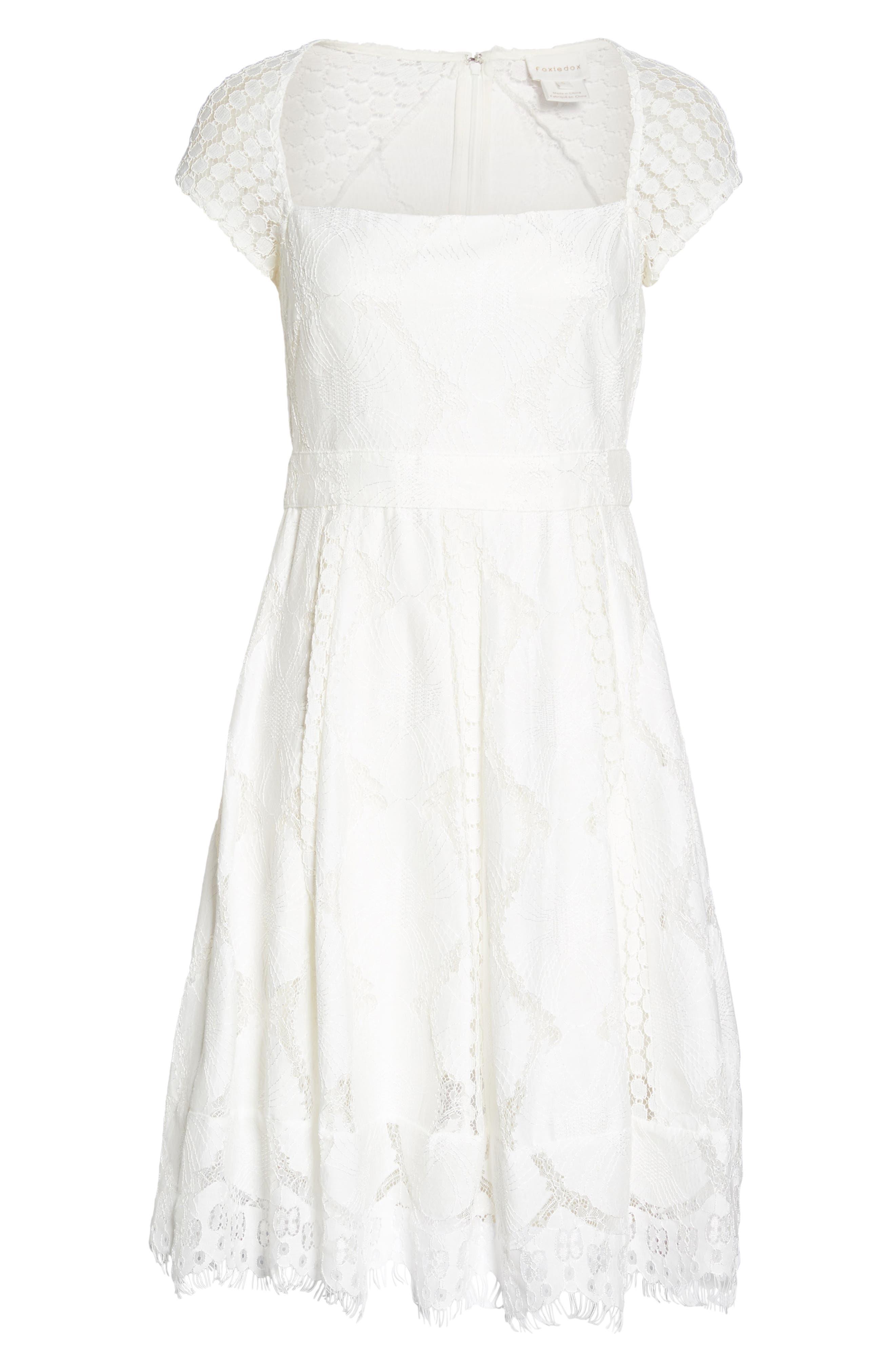 Theodora Lace Dress,                             Alternate thumbnail 6, color,                             White