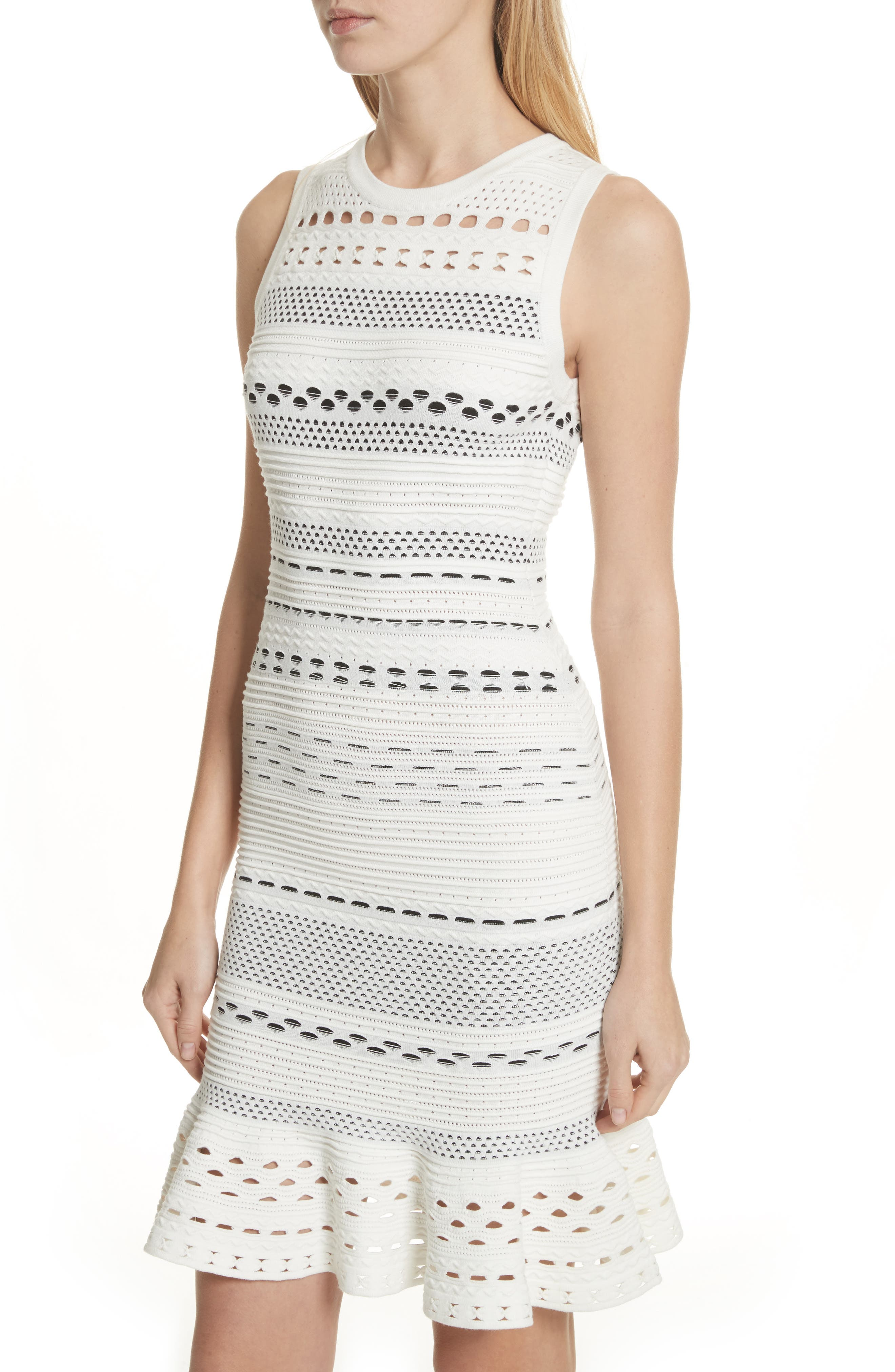 Cutout Lace Knit Dress,                             Alternate thumbnail 4, color,                             White/ Black