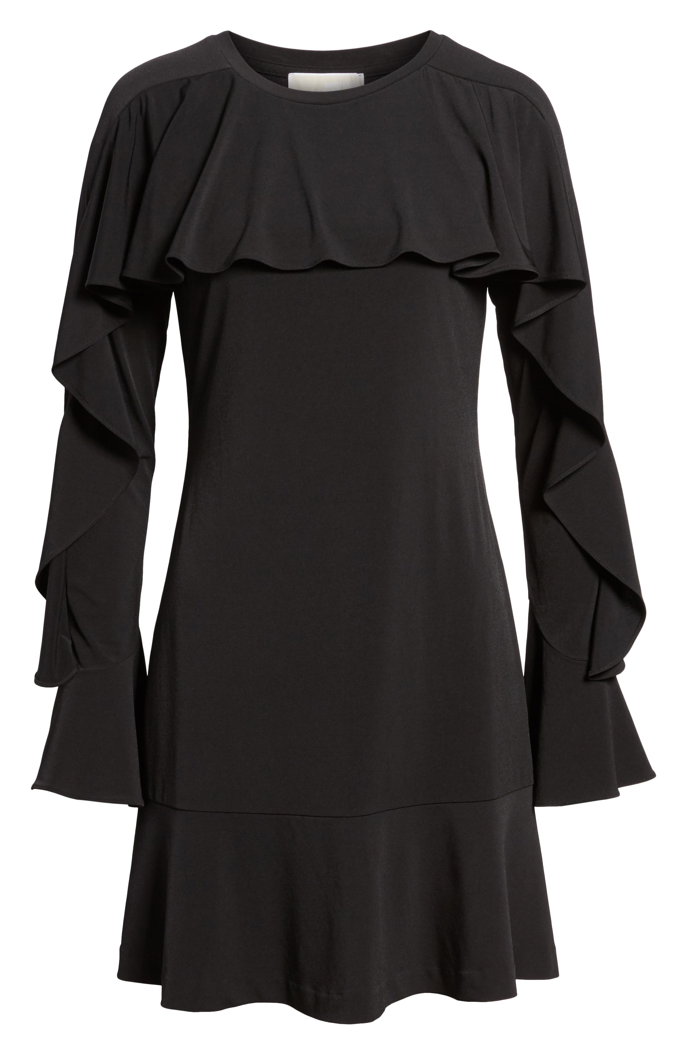 Flounce Panel Long Sleeve Dress,                             Alternate thumbnail 6, color,                             Black