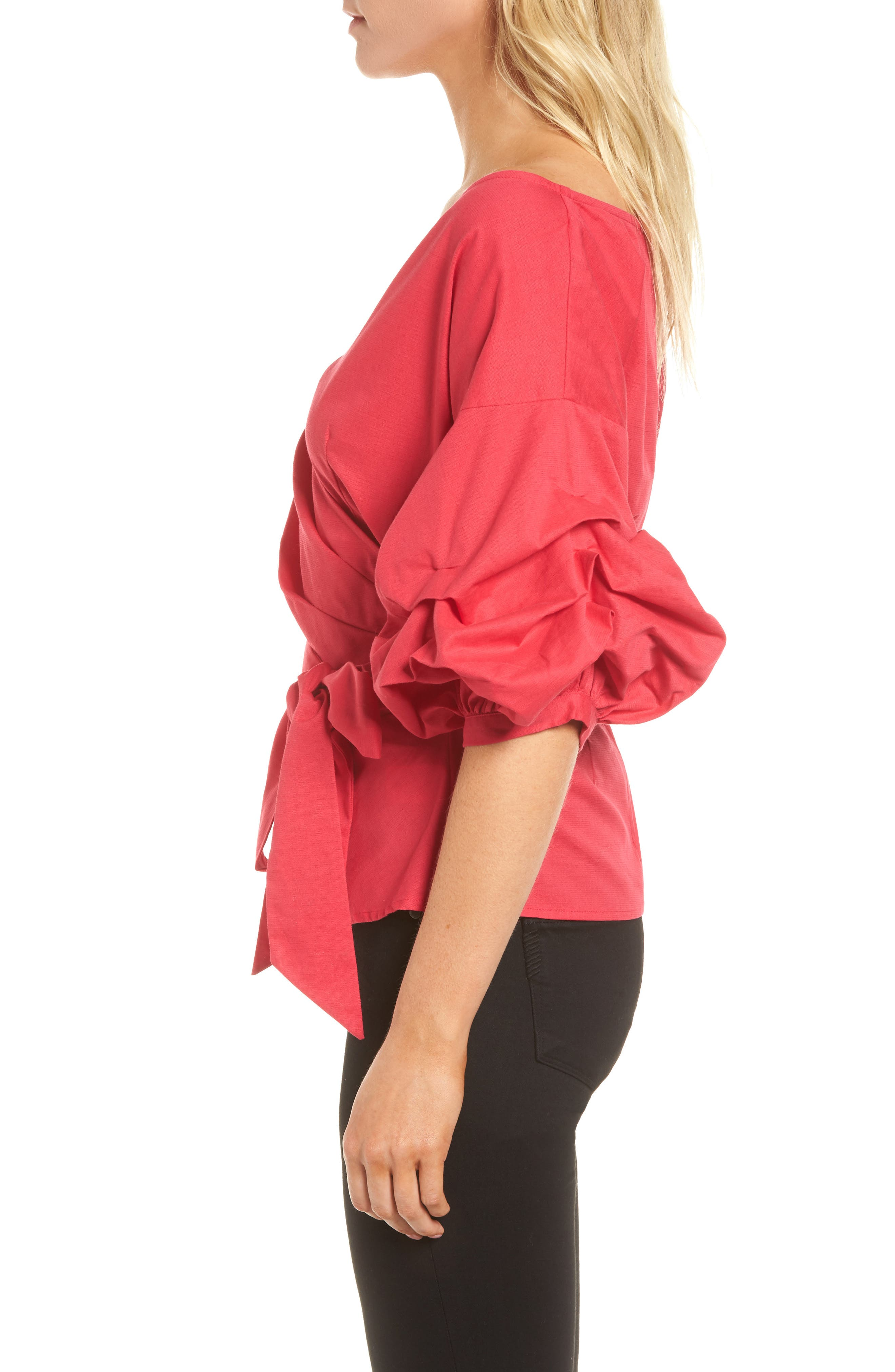Wrap Top,                             Alternate thumbnail 3, color,                             Red Barberry