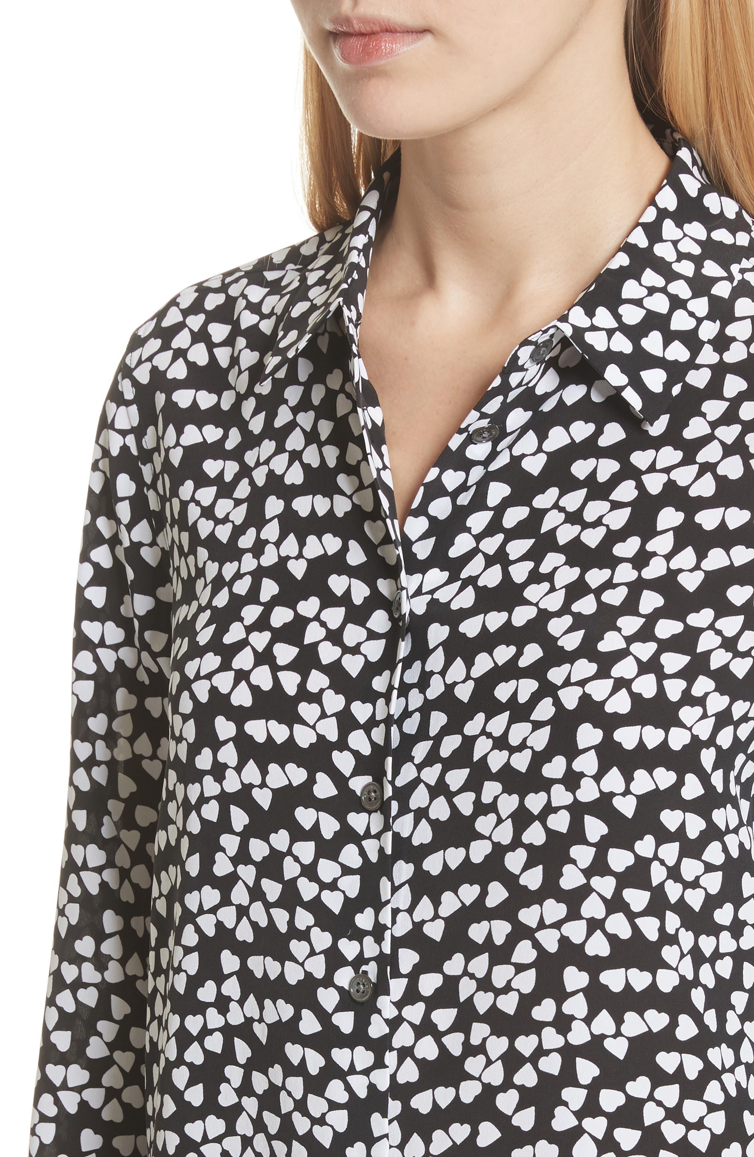 Essential Heart Print Silk Shirt,                             Alternate thumbnail 4, color,                             True Black-Bright White
