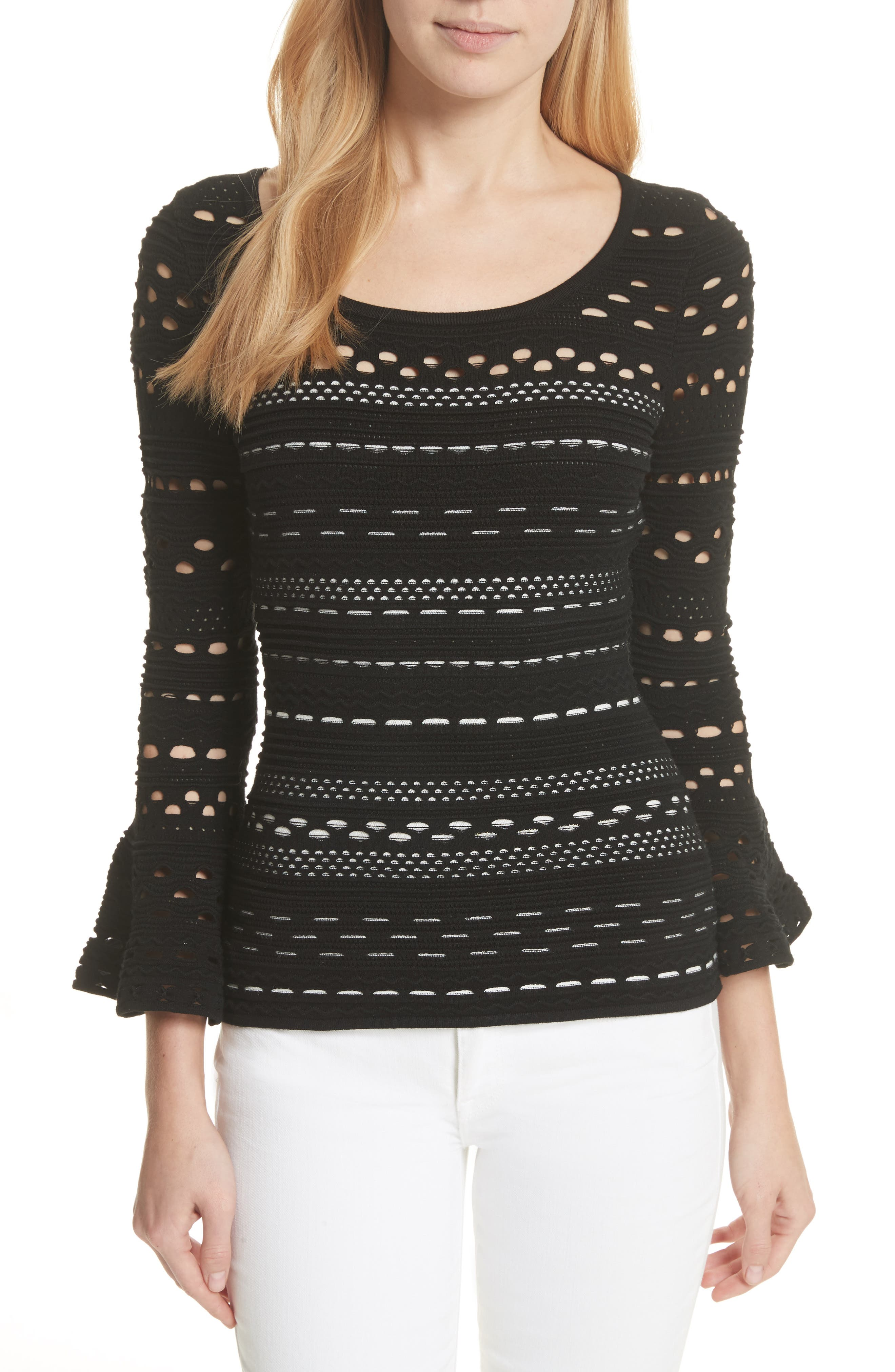 Lace Knit Top,                             Main thumbnail 1, color,                             Black/ White