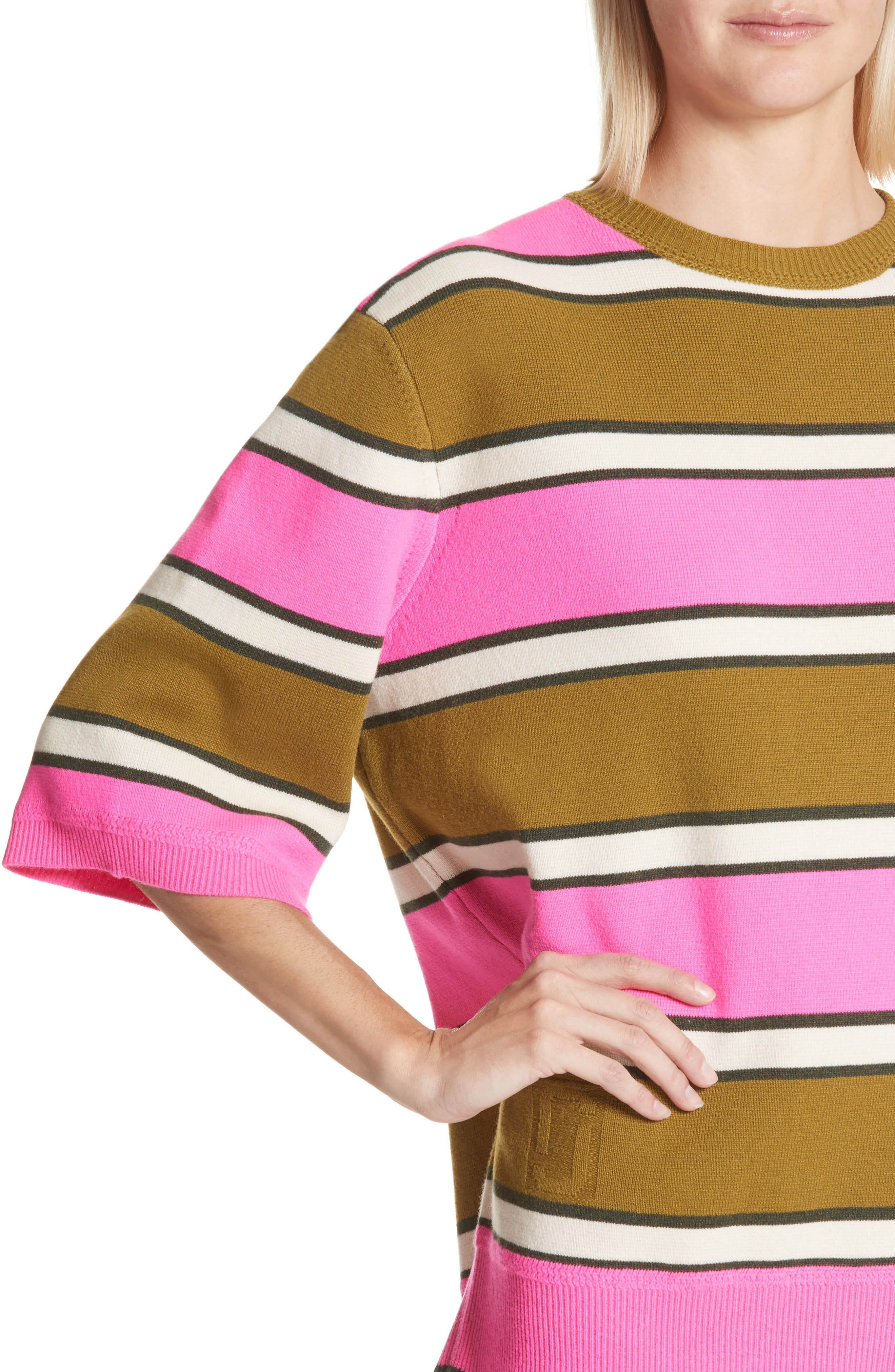 Oversize Stripe Cashmere Sweater,                             Alternate thumbnail 4, color,                             Pink Multi
