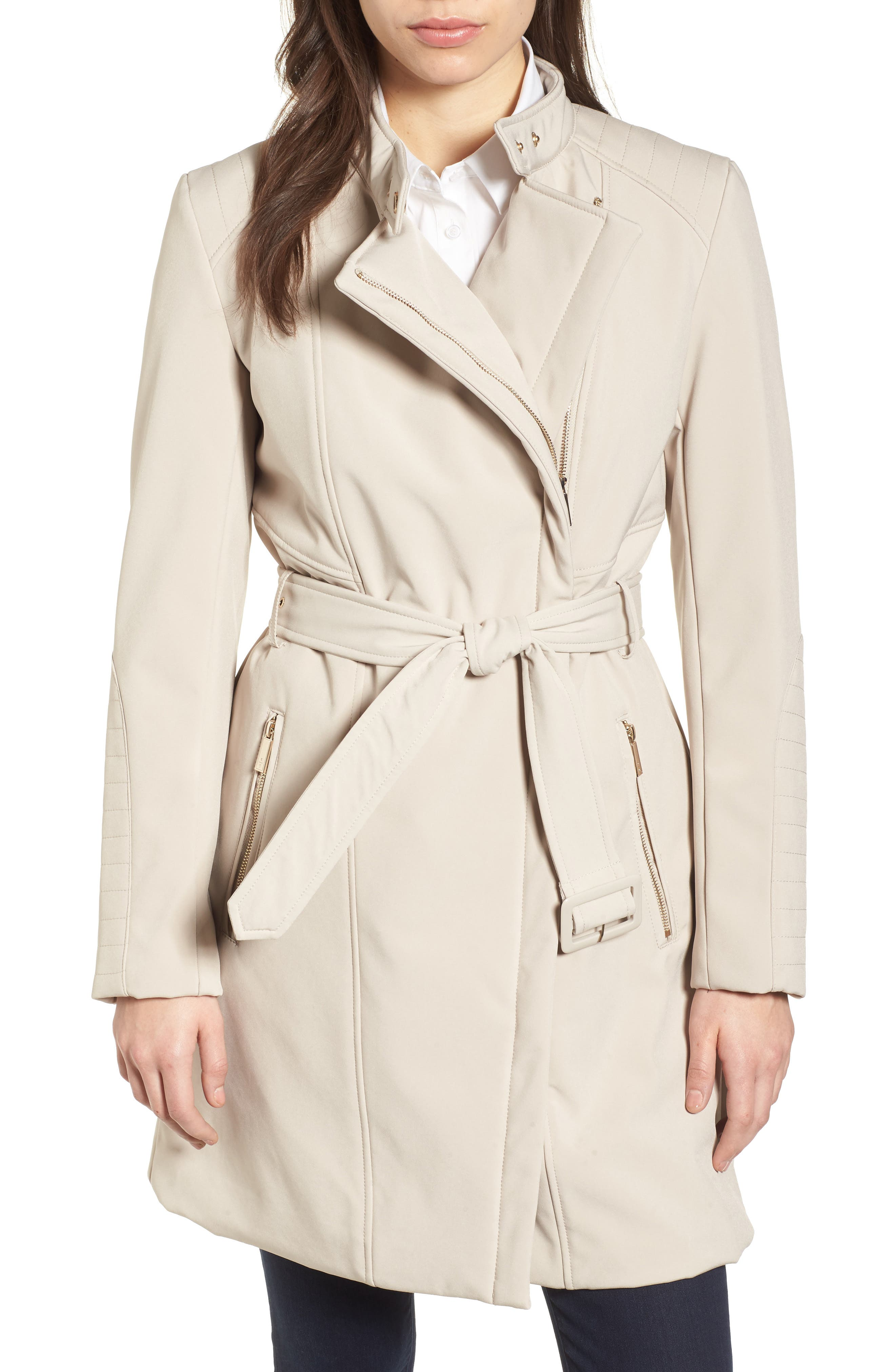 Asymmetrical Belted Trench Coat,                         Main,                         color, Bone