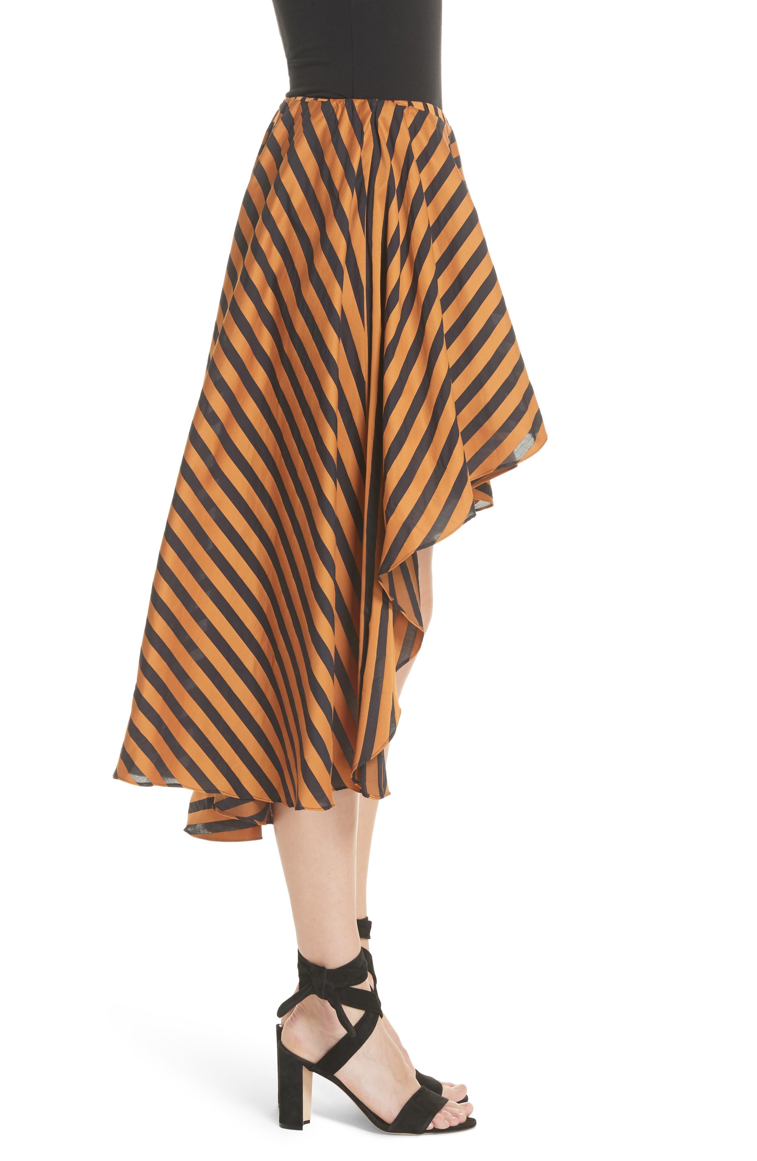 Adelle Ruffle High/Low Skirt,                             Alternate thumbnail 3, color,                             Bronze Black